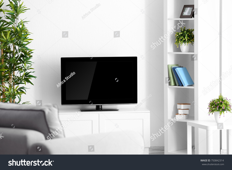 Modern Tv Set On Stand Living Stock Photo 750842314 - Shutterstock