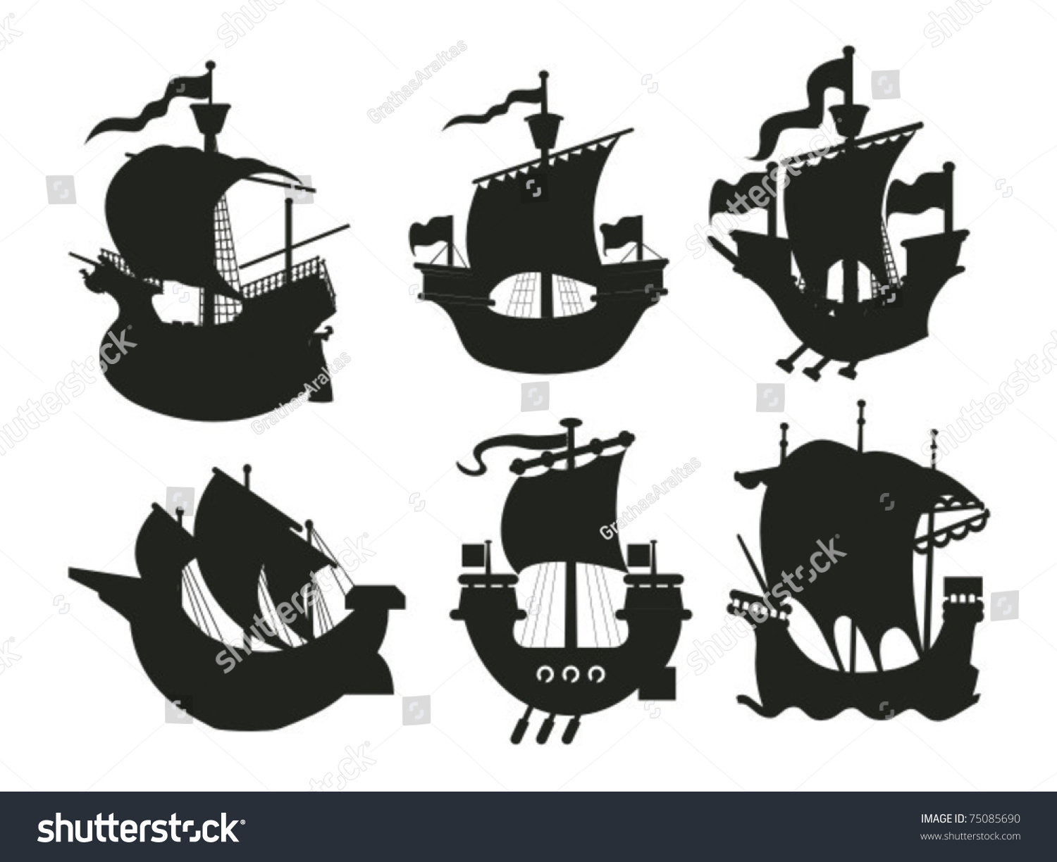 Set Antique Medieval Ship Silhouettes Stock Vector 75085690 ...