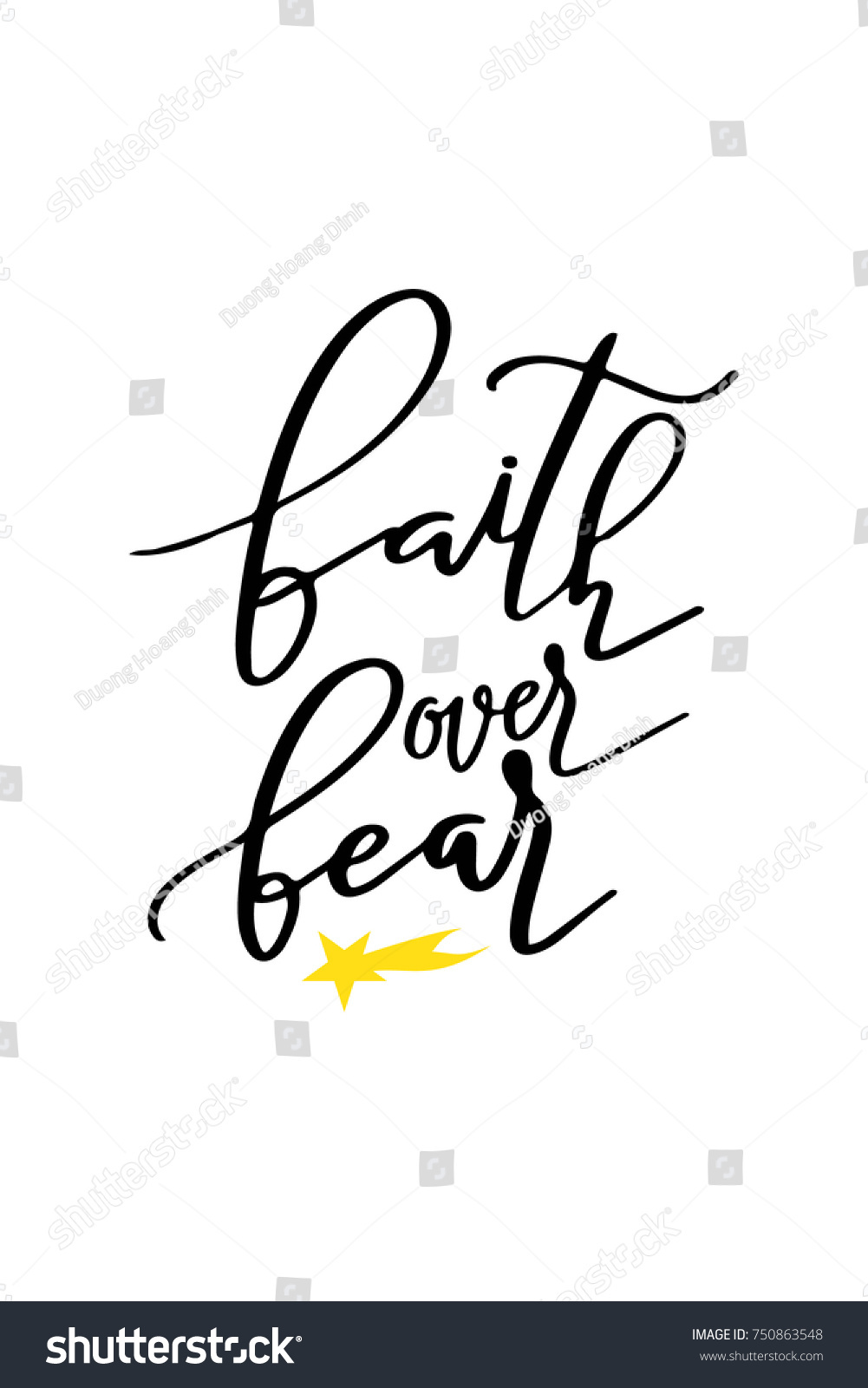 Christmas Quote, Lettering. Print Design Vector Illustration. Faith Over  Fear.