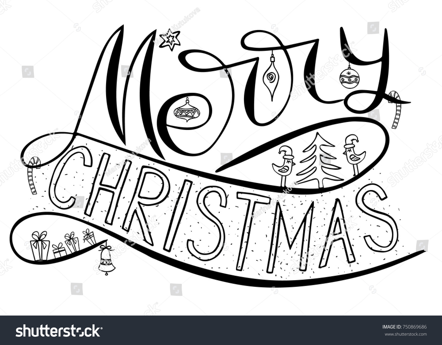 Merry Christmas Card Brush Calligraphy New Stock Vector (Royalty ...
