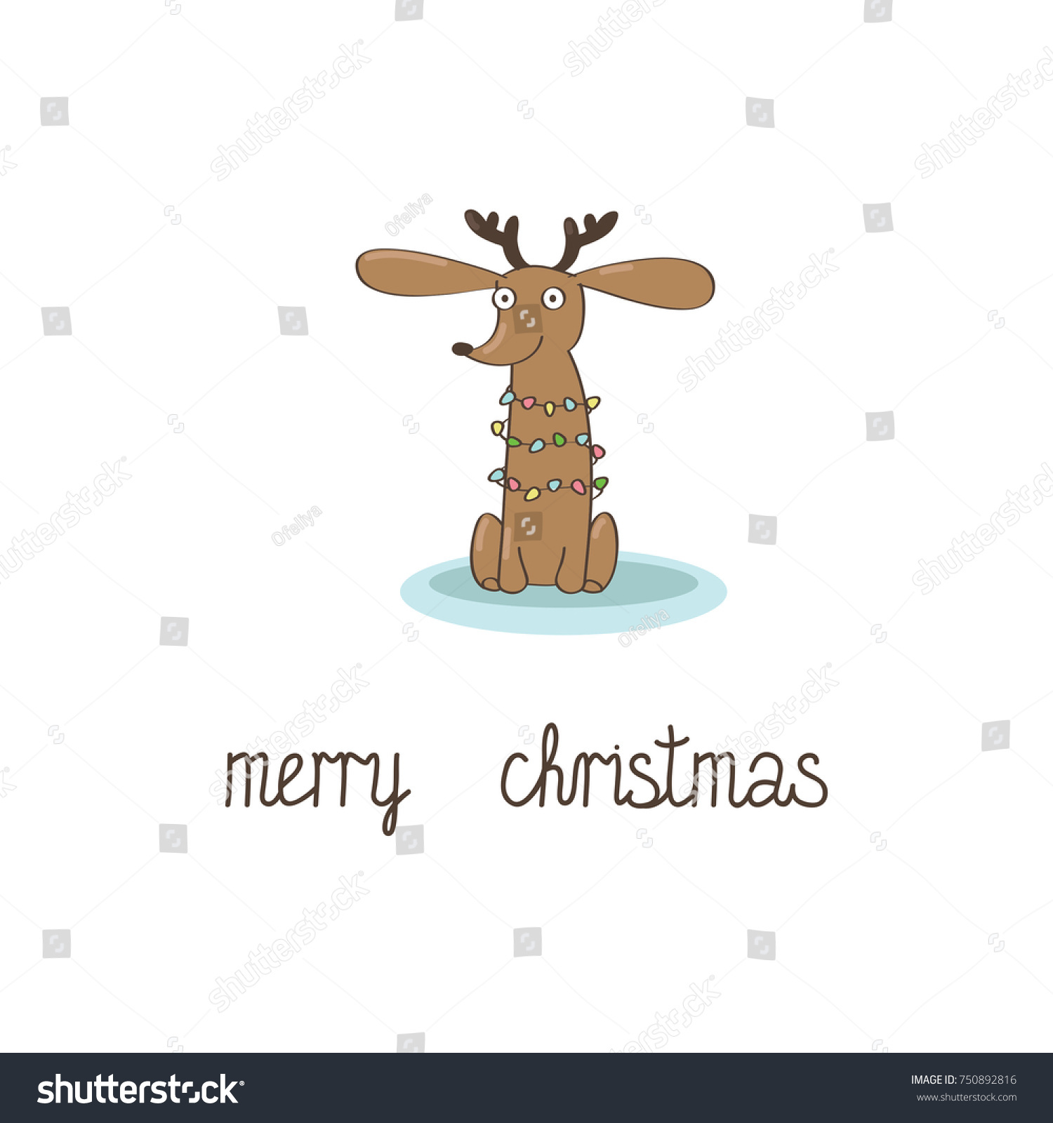 Merry christmas greeting card lettering sitting stock vector merry christmas greeting card with a lettering and a sitting dachshund puppy in a reindeer costume kristyandbryce Image collections