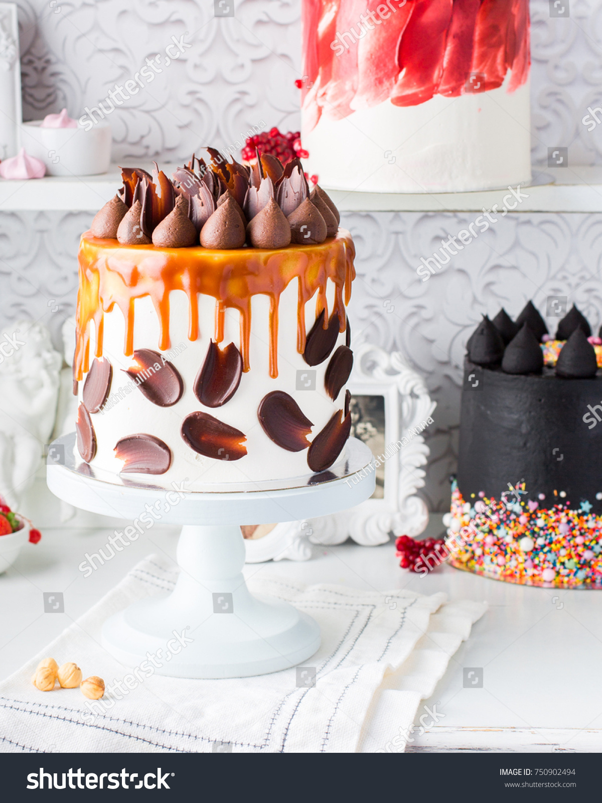 Three Magnificent Beautiful Chocolate Cakes Cheese Stock Photo (Safe ...