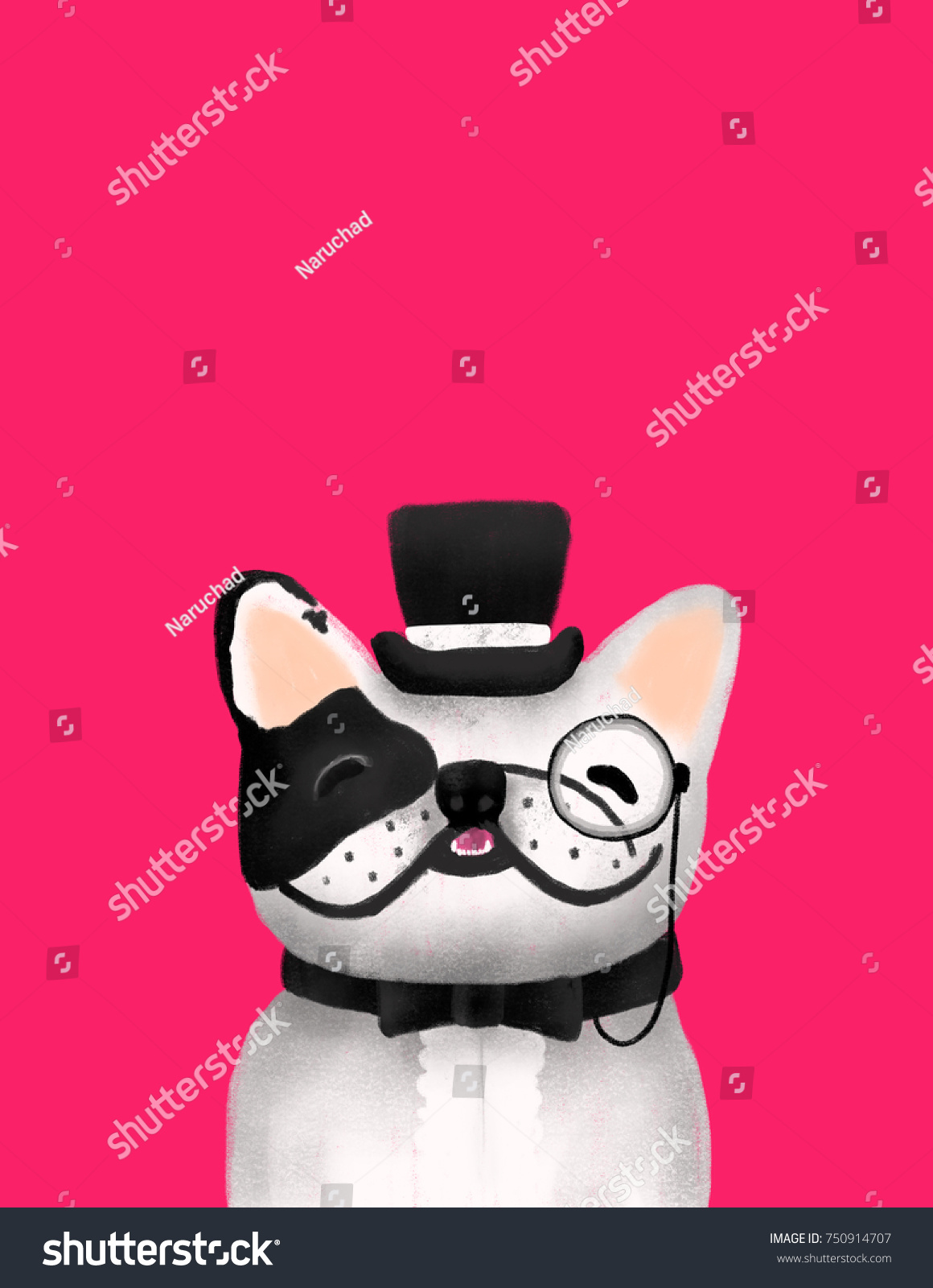 French Bulldog Wearing Formal Clothes Bow Stock Illustration