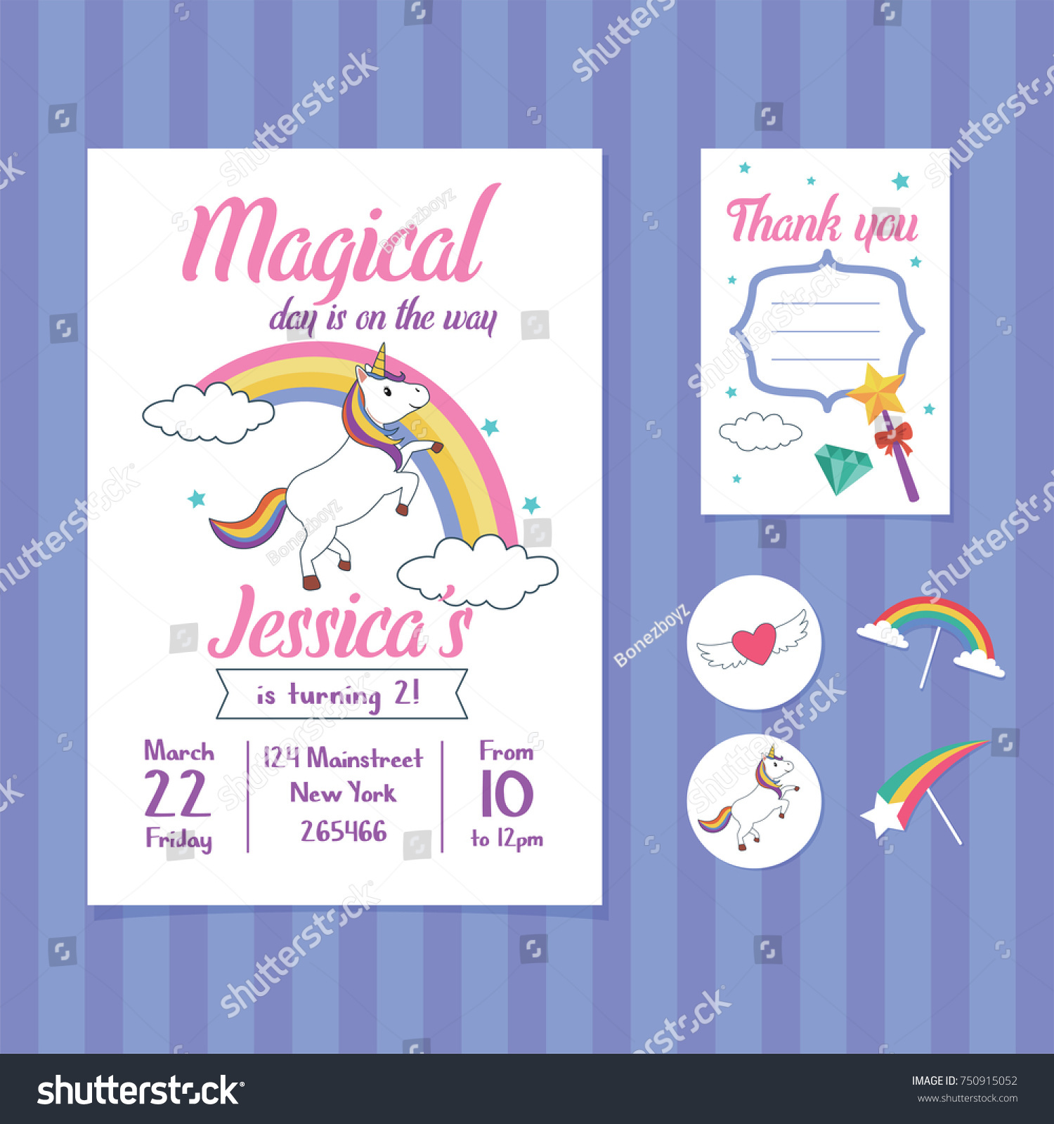 Unicorn Birthday Invitation Card Template Unicorn Vector De Stock