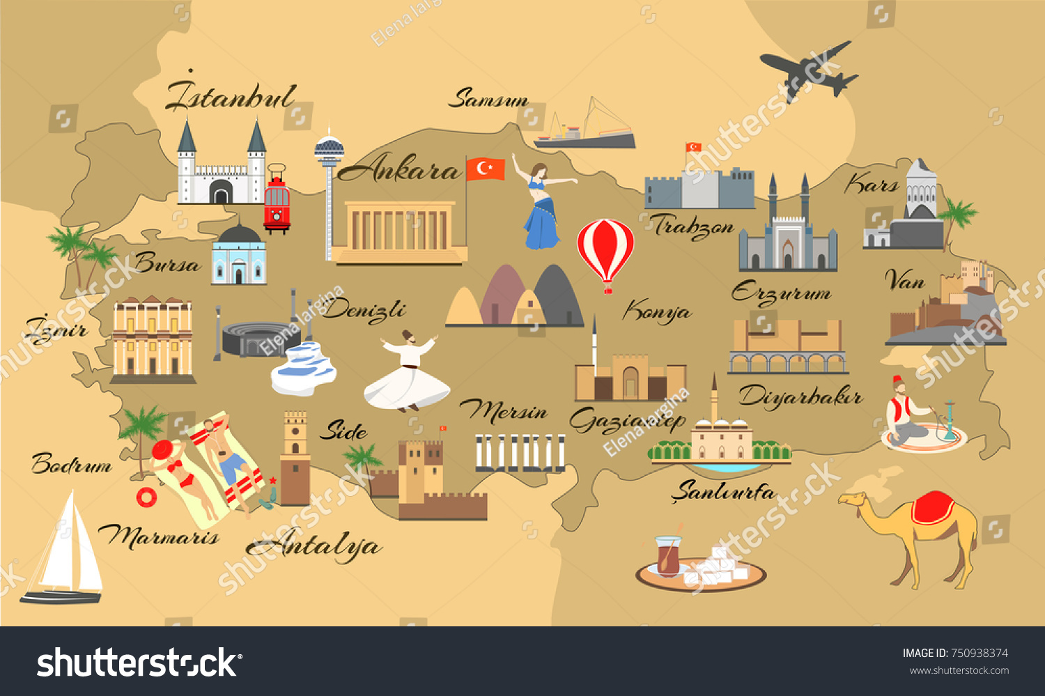 map of turkey with main sights for tourists turkish attraction turkish map with popular