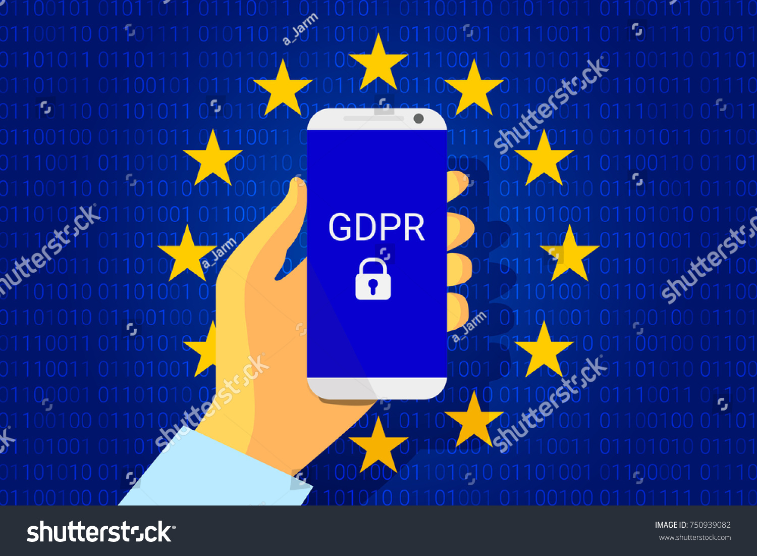 Gdpr General Data Protection Security Technology Stock Vector Background Regulation Phone In Hand