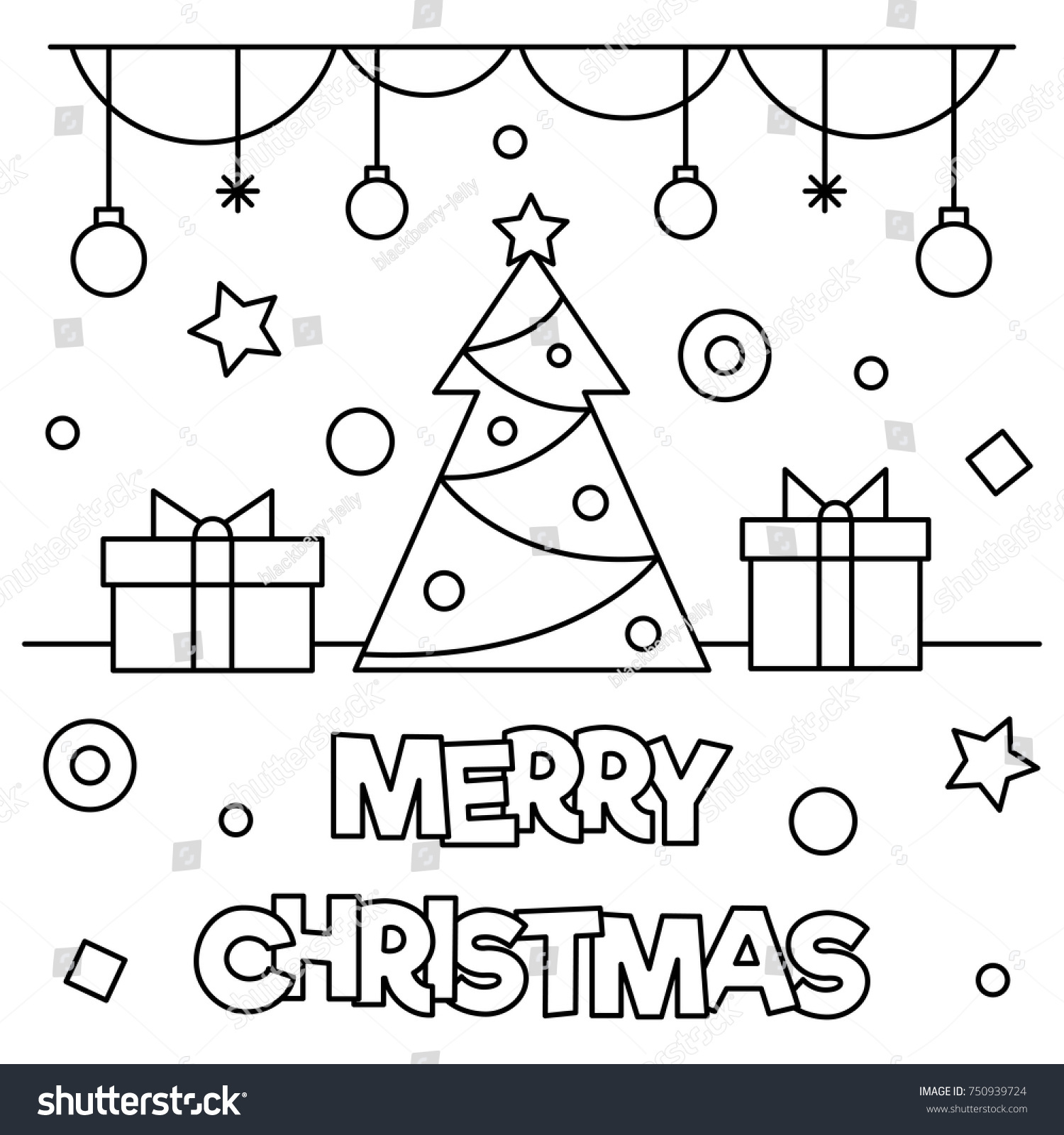 Merry Christmas Coloring Pages.Merry Christmas Coloring Page Black White Stock Vector