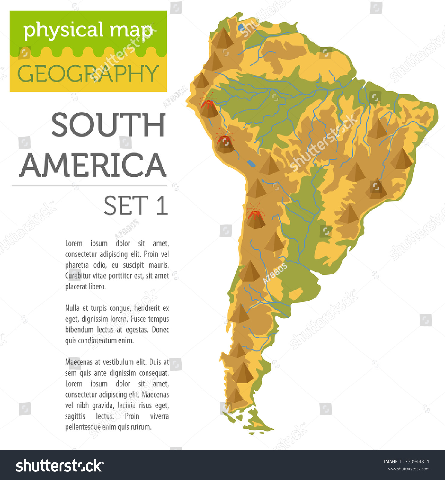 South America Physical Map Elements Build Stock Vector - South america physical map