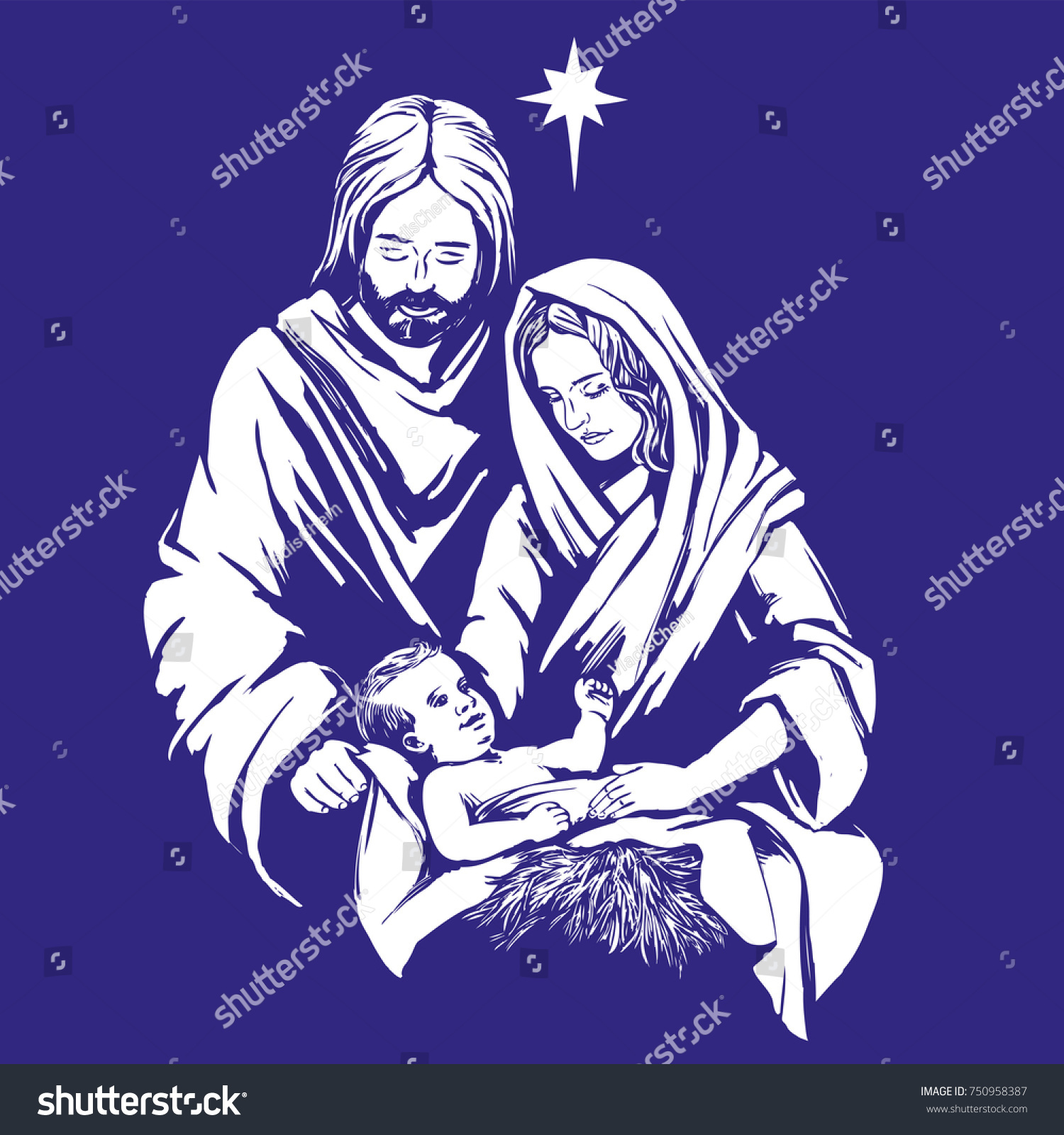 Christmas Story Mary Joseph Baby Jesus Stock Vector (Royalty Free ...