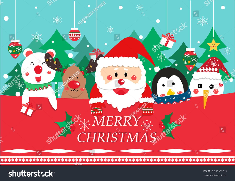 Merry Christmas Greeting Card Vector Santa Stock Vector Royalty