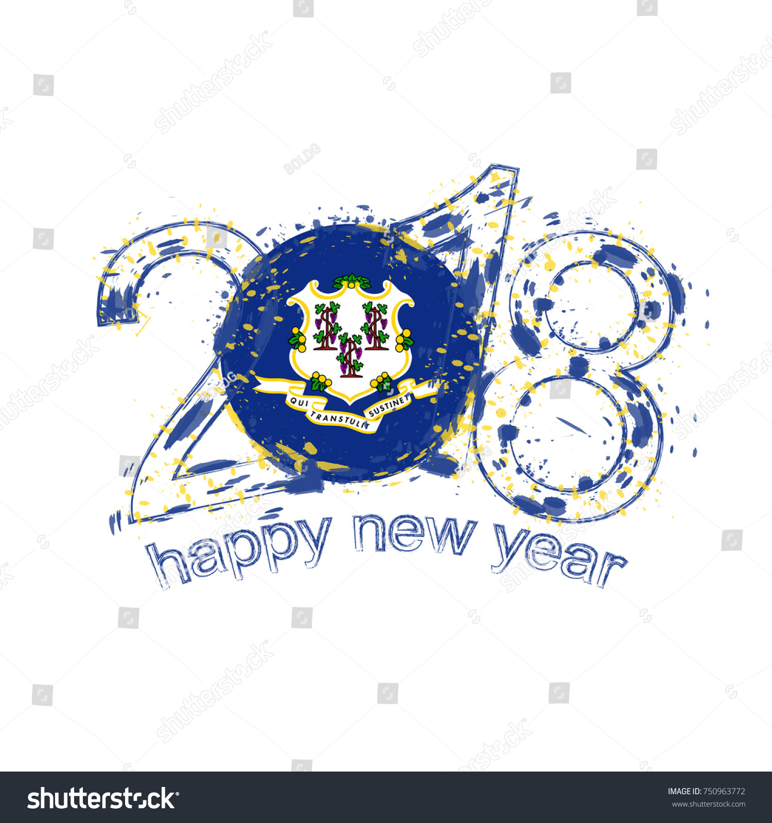 2018 Happy New Year Connecticut US Stock Vector (Royalty Free ...