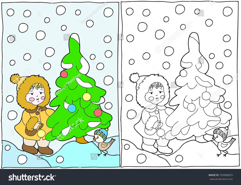 Coloring Book Girl Christmas Tree Hand Stock Vector 750968029 ...