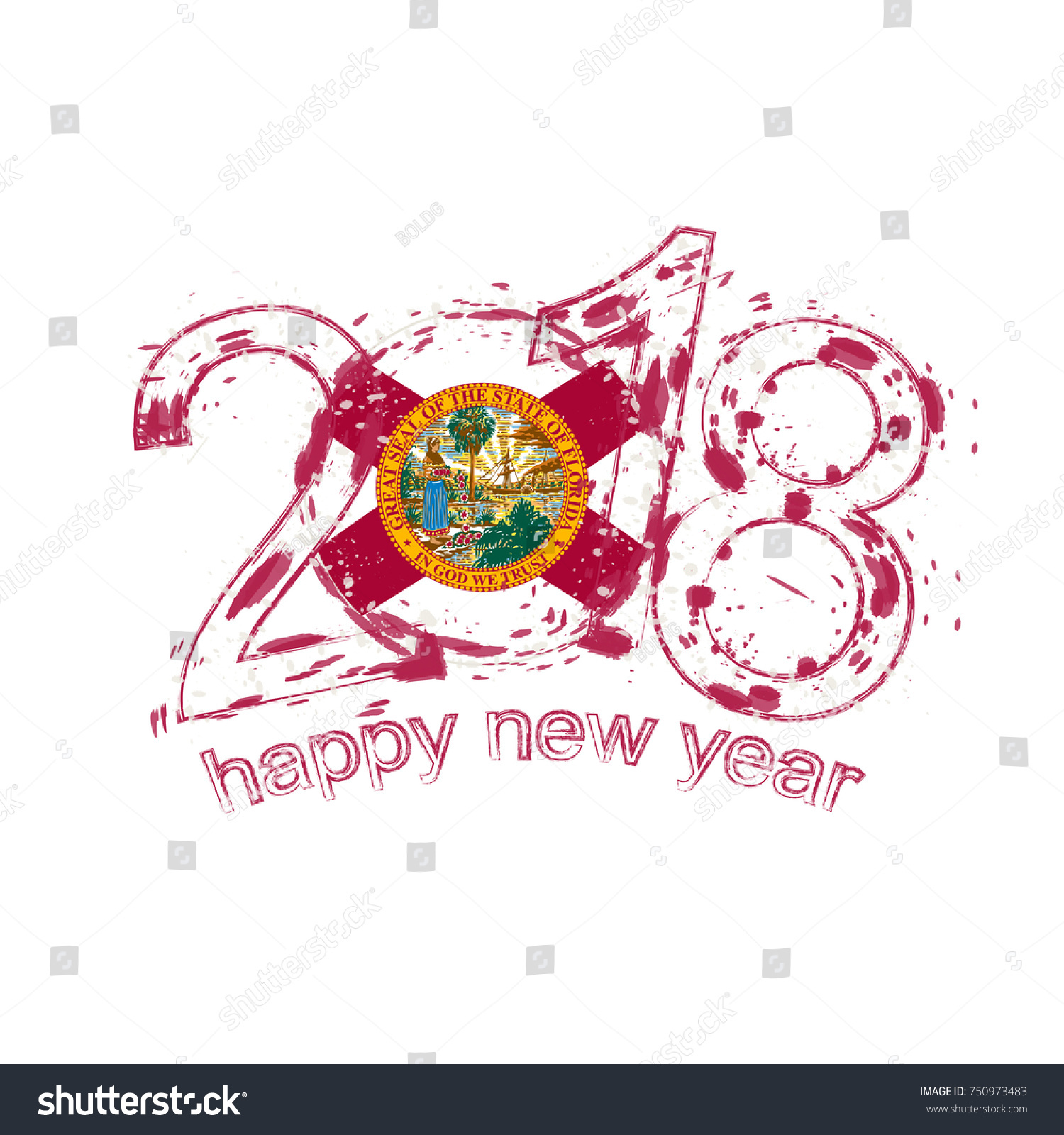 2018 Happy New Year Florida US Stock Vector (Royalty Free) 750973483 ...