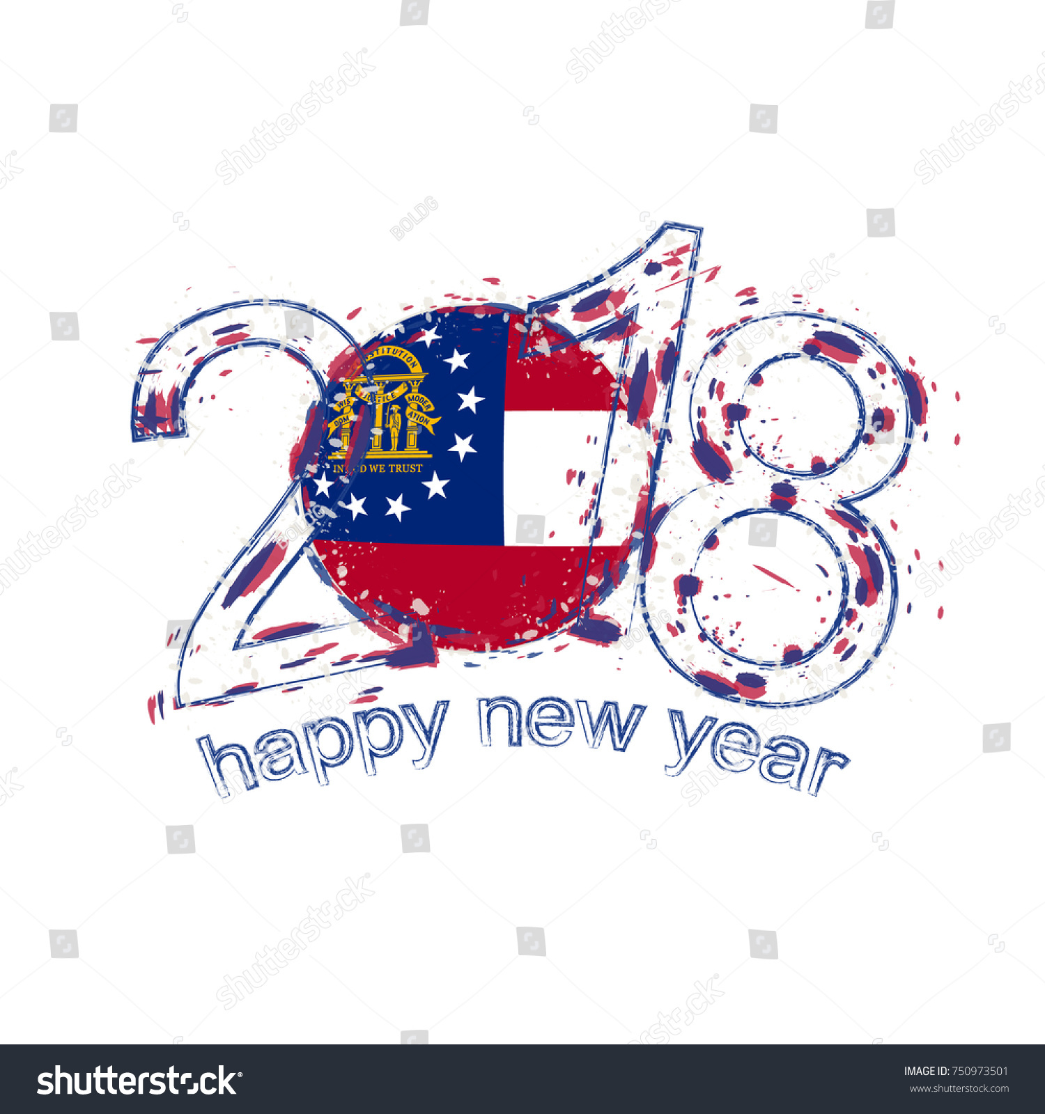 2018 happy new year georgia us state grunge vector template for greeting card calendars 2018