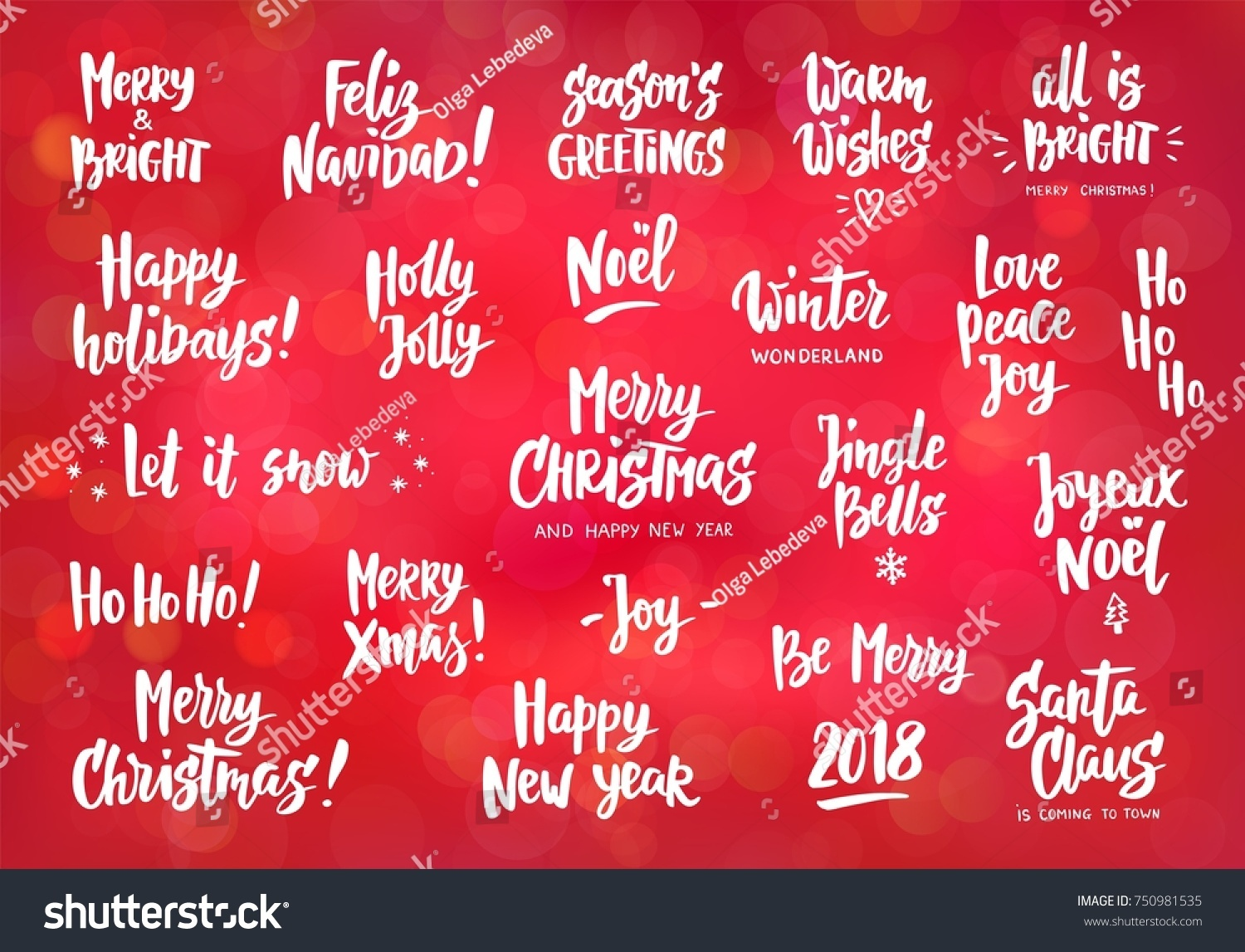 Holiday Wishes Quotes Set Holiday Greeting Quotes Wishes Hand Stock Vector 750981535