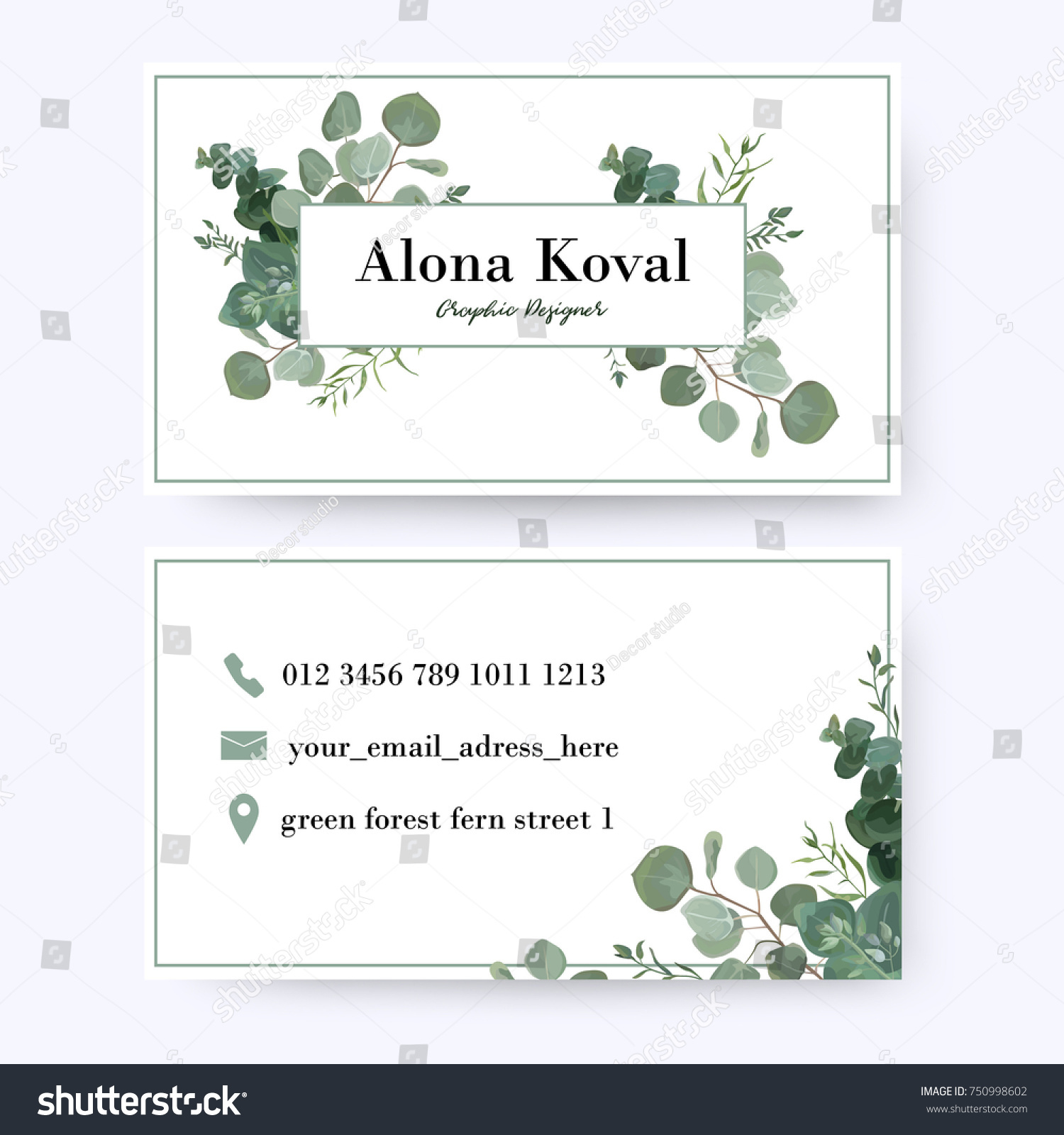Floral Business Card Design Vintage Rustic Stock Vector 750998602 ...