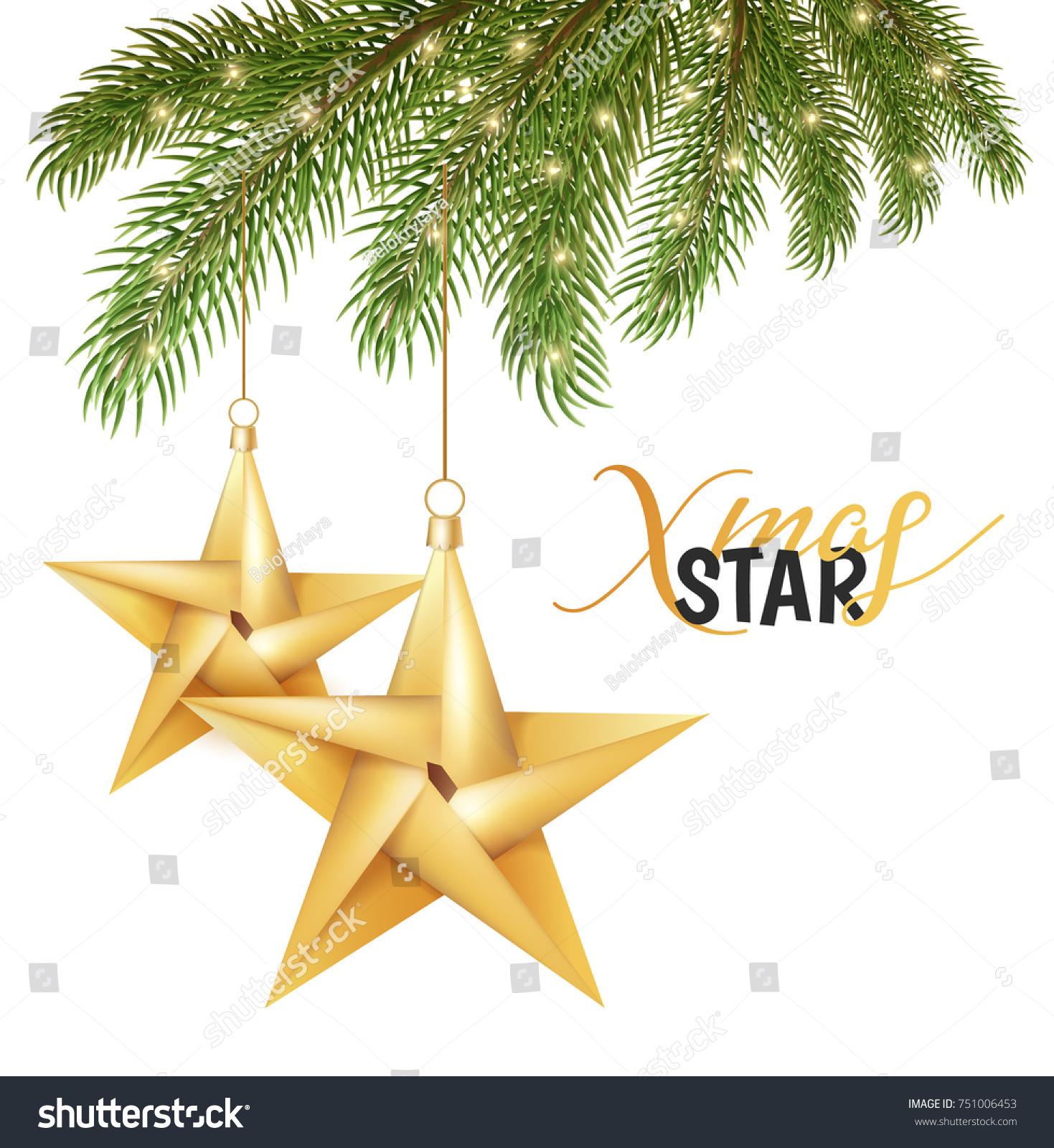 Christmas Tree Gold Star Toys Stock Vector Shutterstock