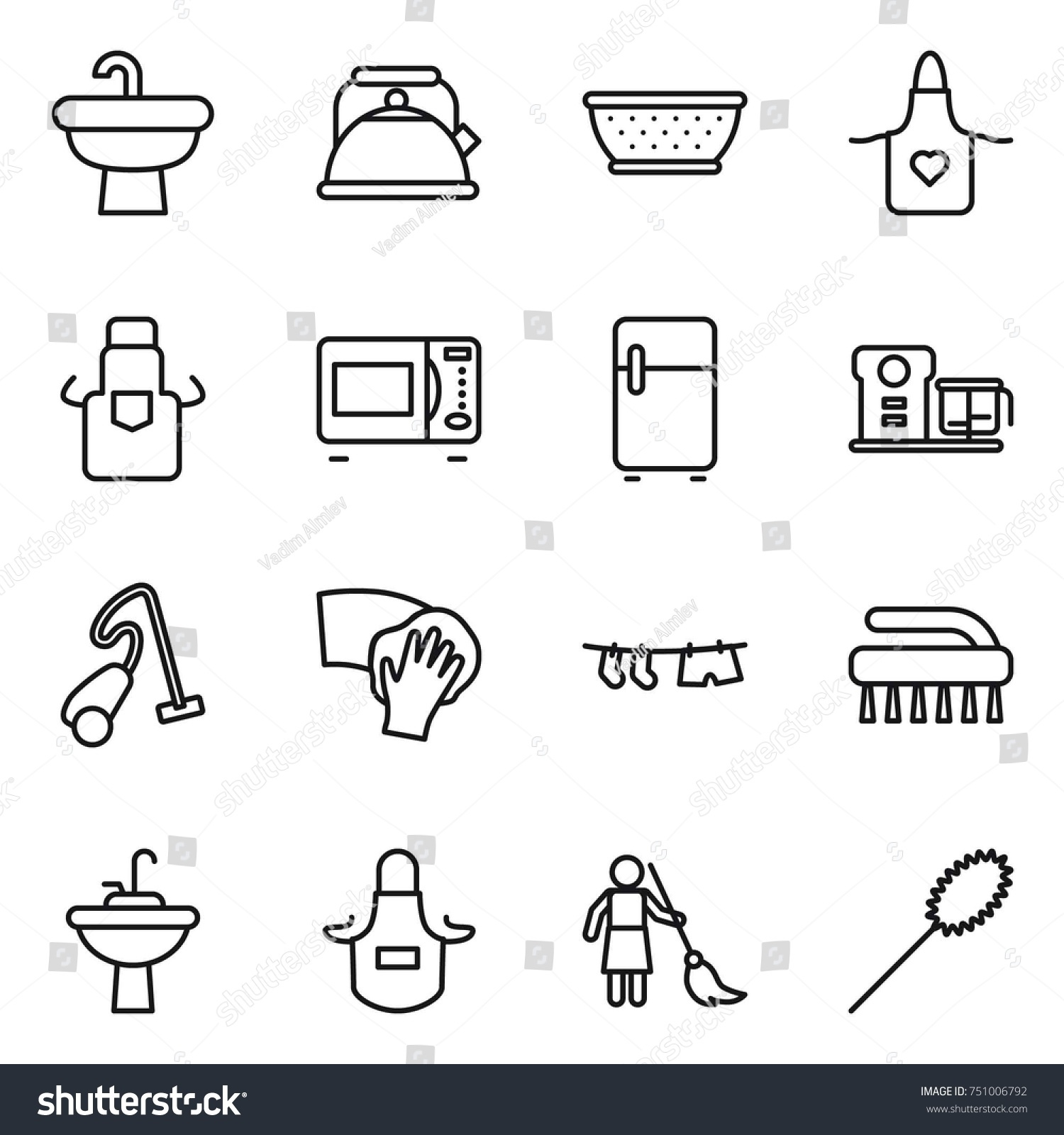 Thin Line Icon Set : Sink, Kettle, Colander, Apron, Microwave Oven,