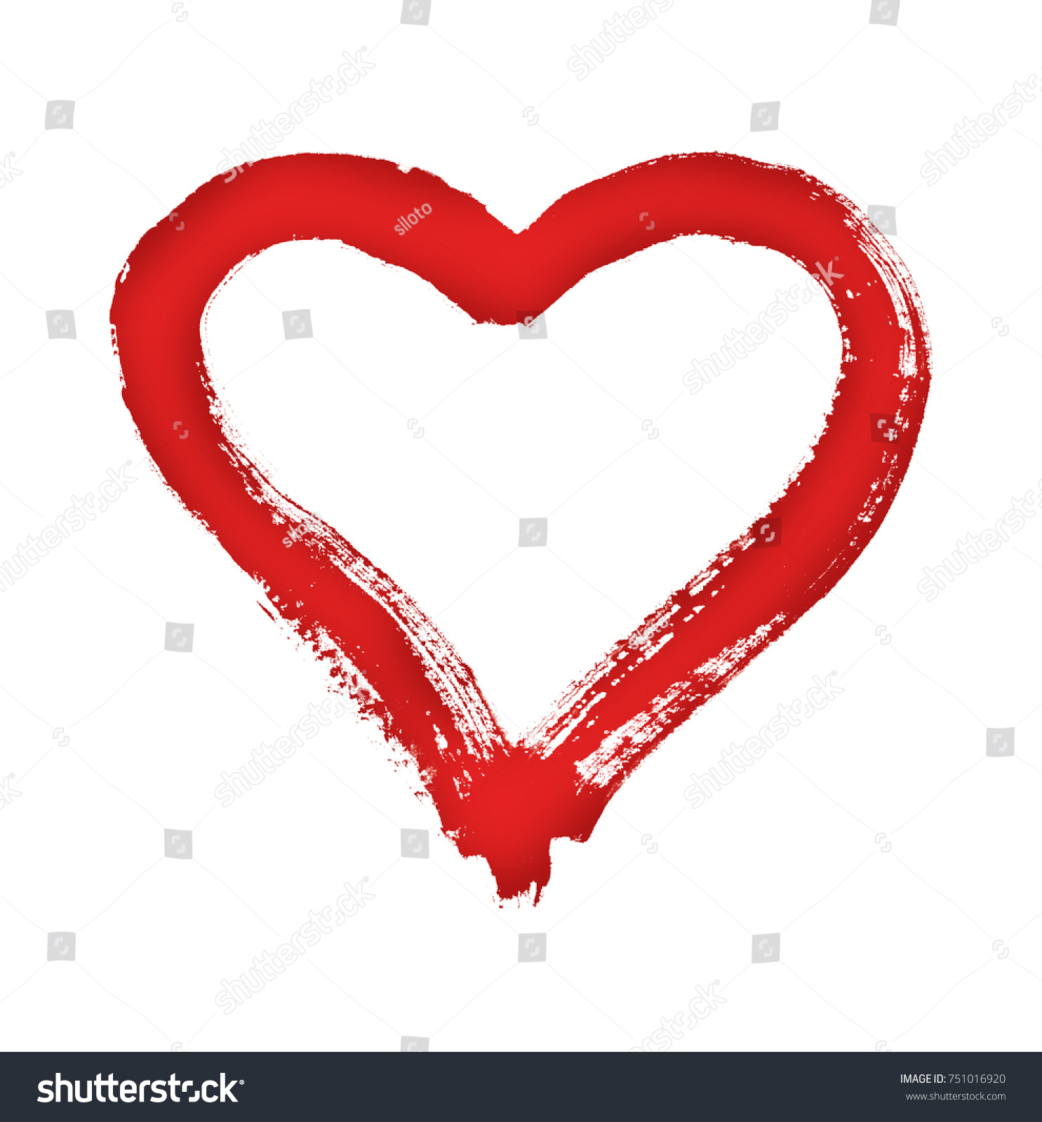 Heart Symbol Love Watercolor On Paper Stock Illustration 751016920