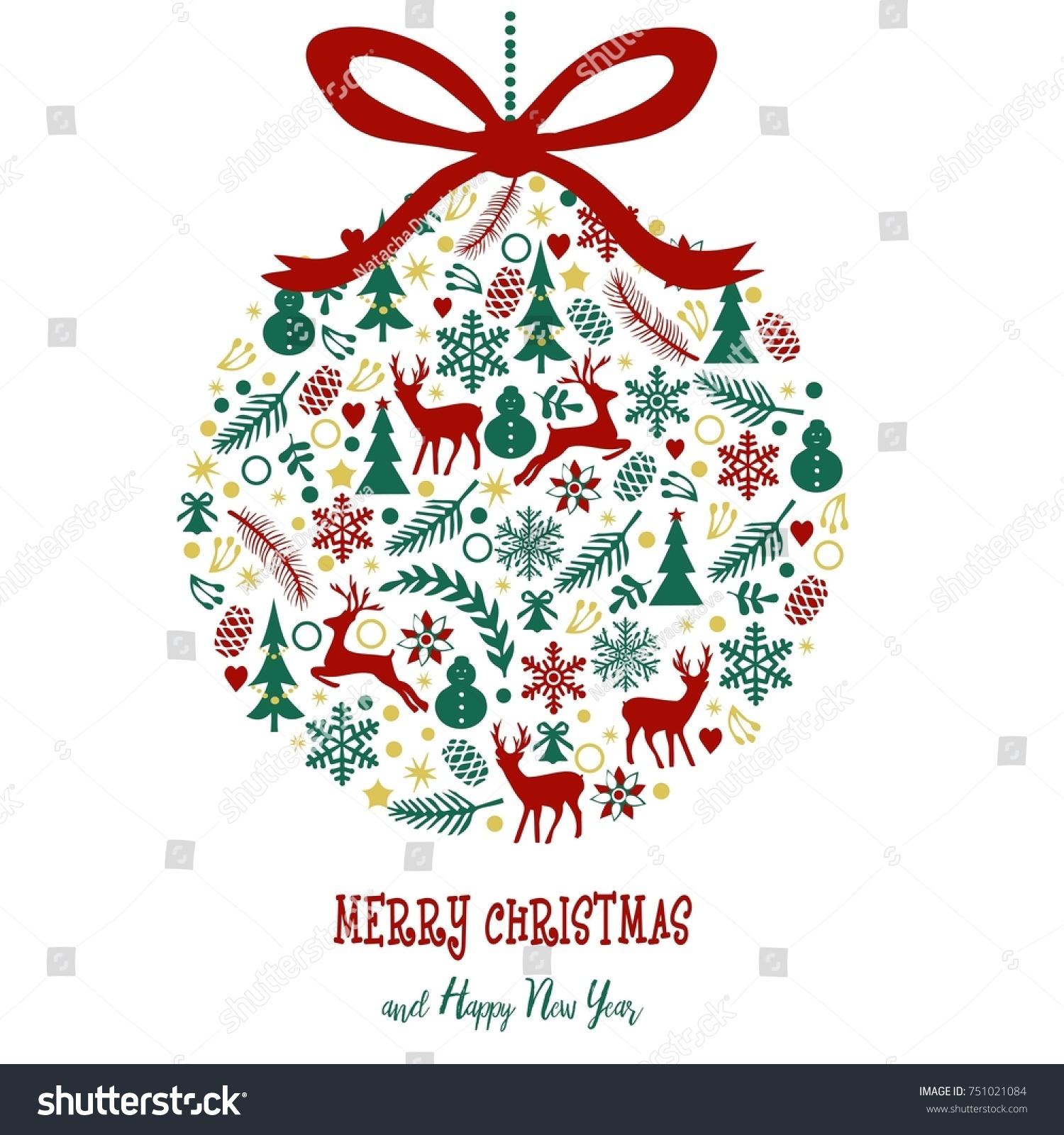 Merry Christmas Greeting Card Christmas Tree Stock Illustration ...