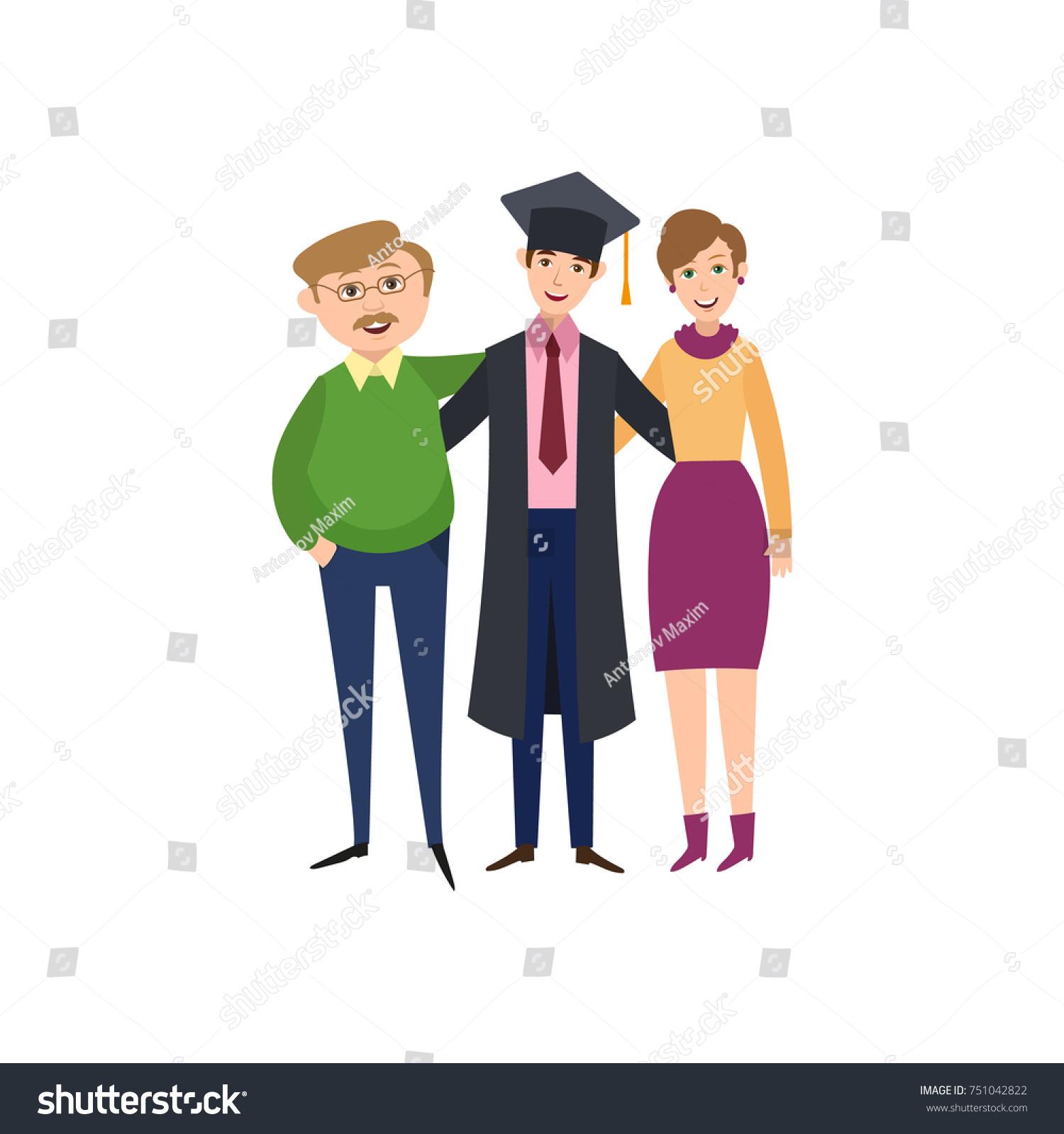 Happy Boy Graduation Cap Gown Hugging Stock Vector 751042822 ...