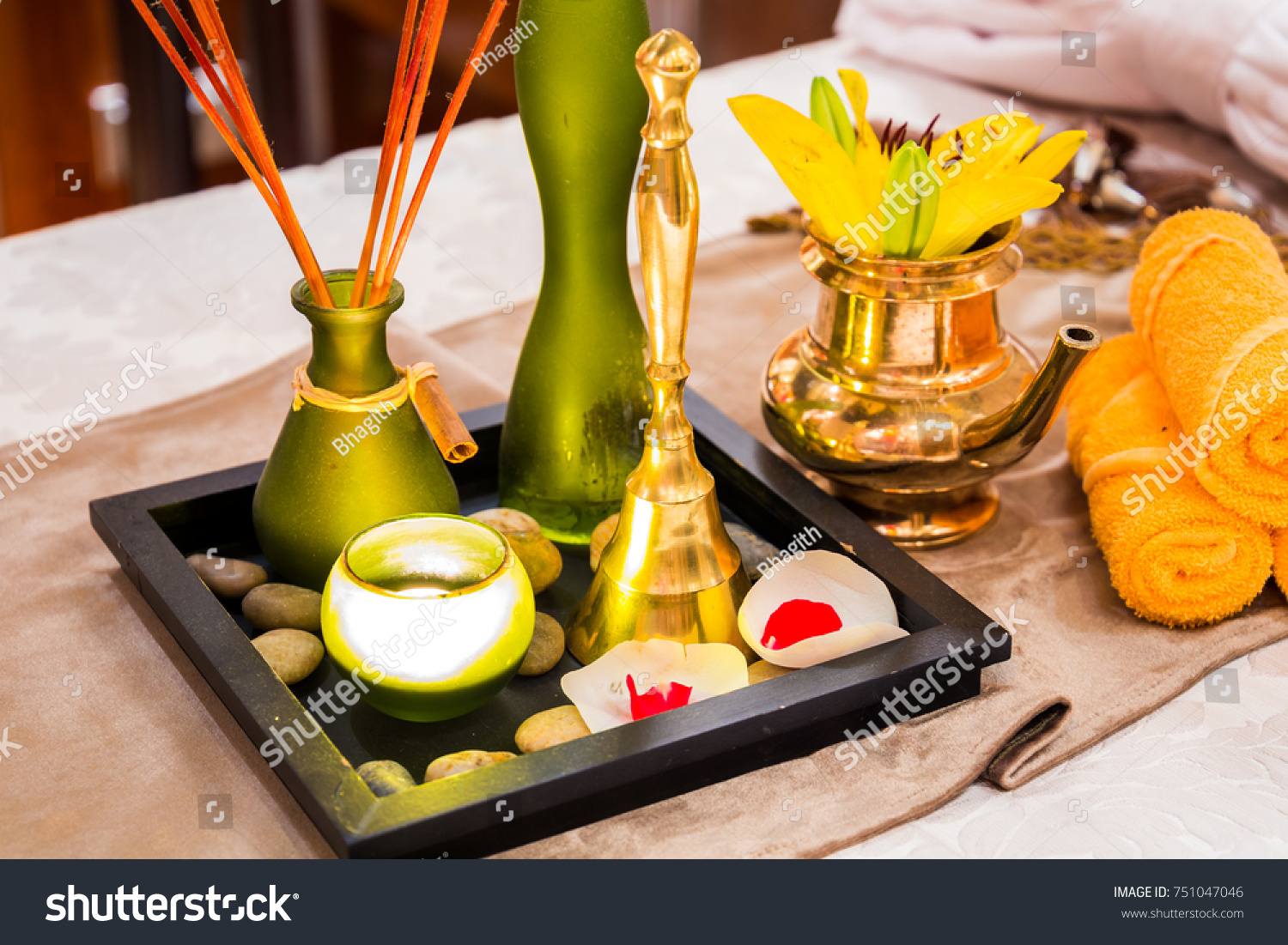 Interior Decoration Ayurveda Spa Traditional Indian Stock Photo ...