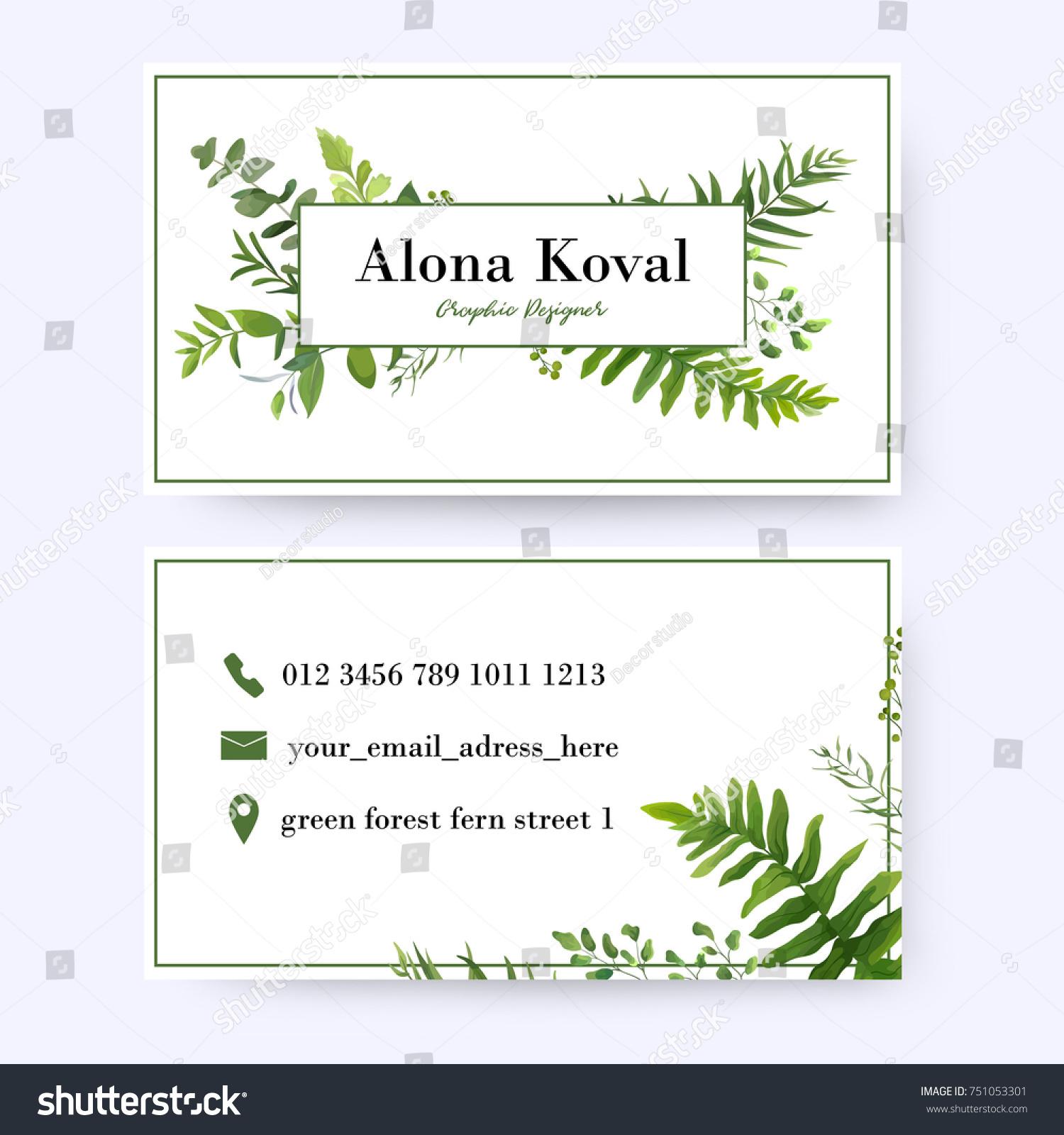 Floral Business Card Design Vintage Rustic Stock Vector 751053301 ...