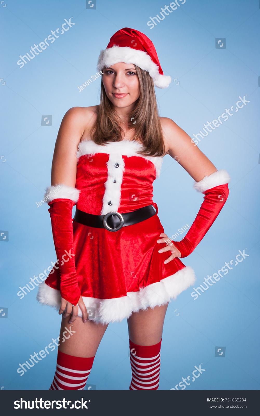 Beautiful Woman Wearing Mrs Claus Costume Stock Photo Edit Now