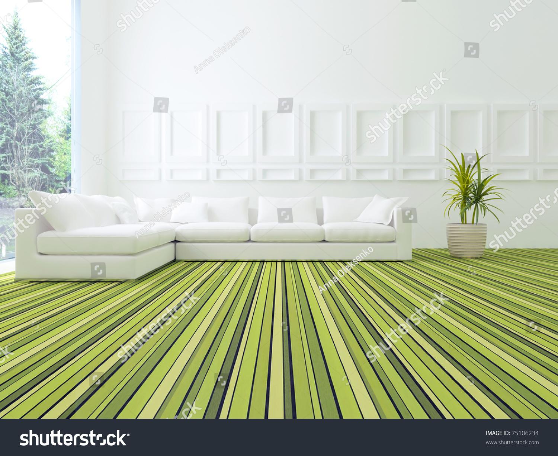 Interior Design Modern White Green Living Stock Illustration ...