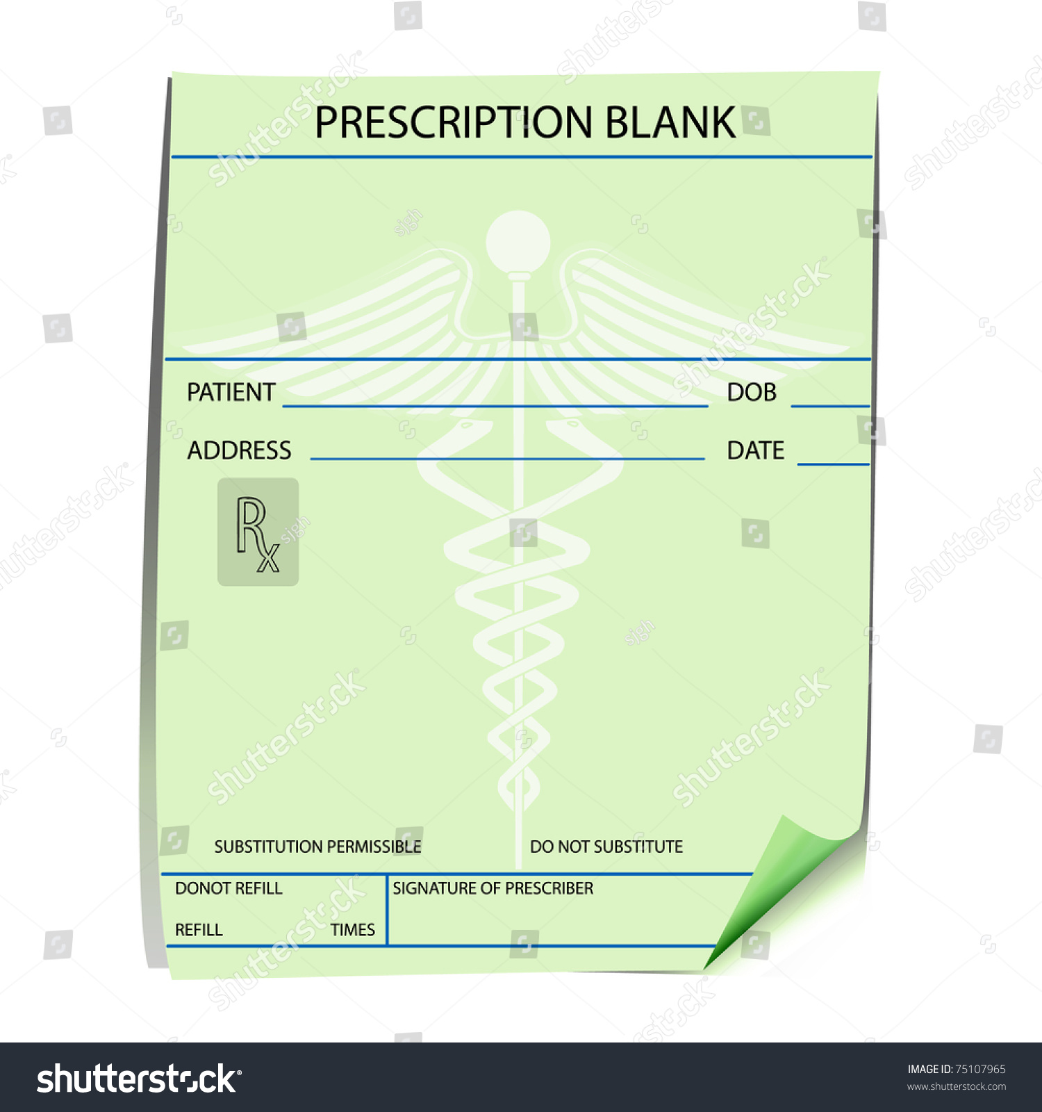 blank prescription form vector stock vector 75107965 shutterstock. Black Bedroom Furniture Sets. Home Design Ideas