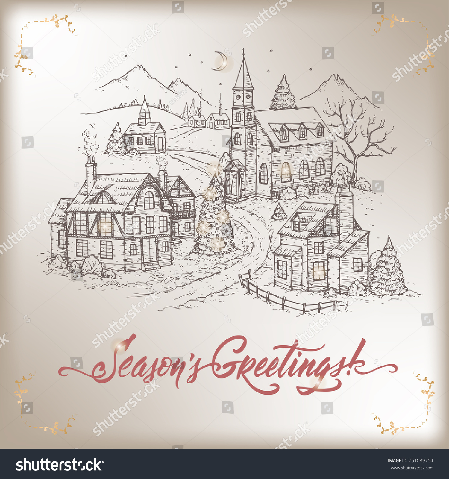 Vintage Christmas Card Mountain Village Holiday Stock Vector (2018 ...