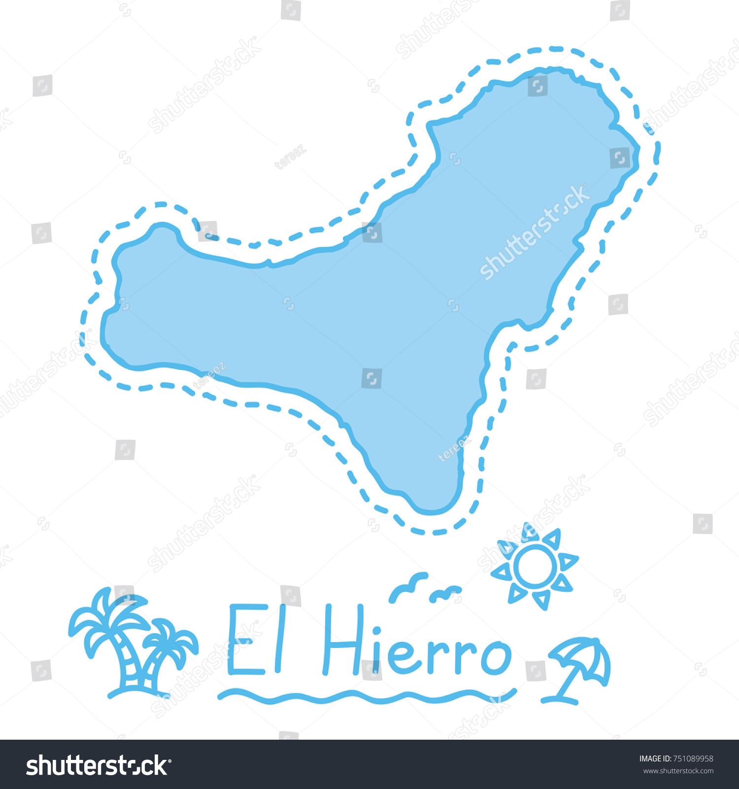 El Hierro Island Map Isolated Cartography Stock Vector 751089958