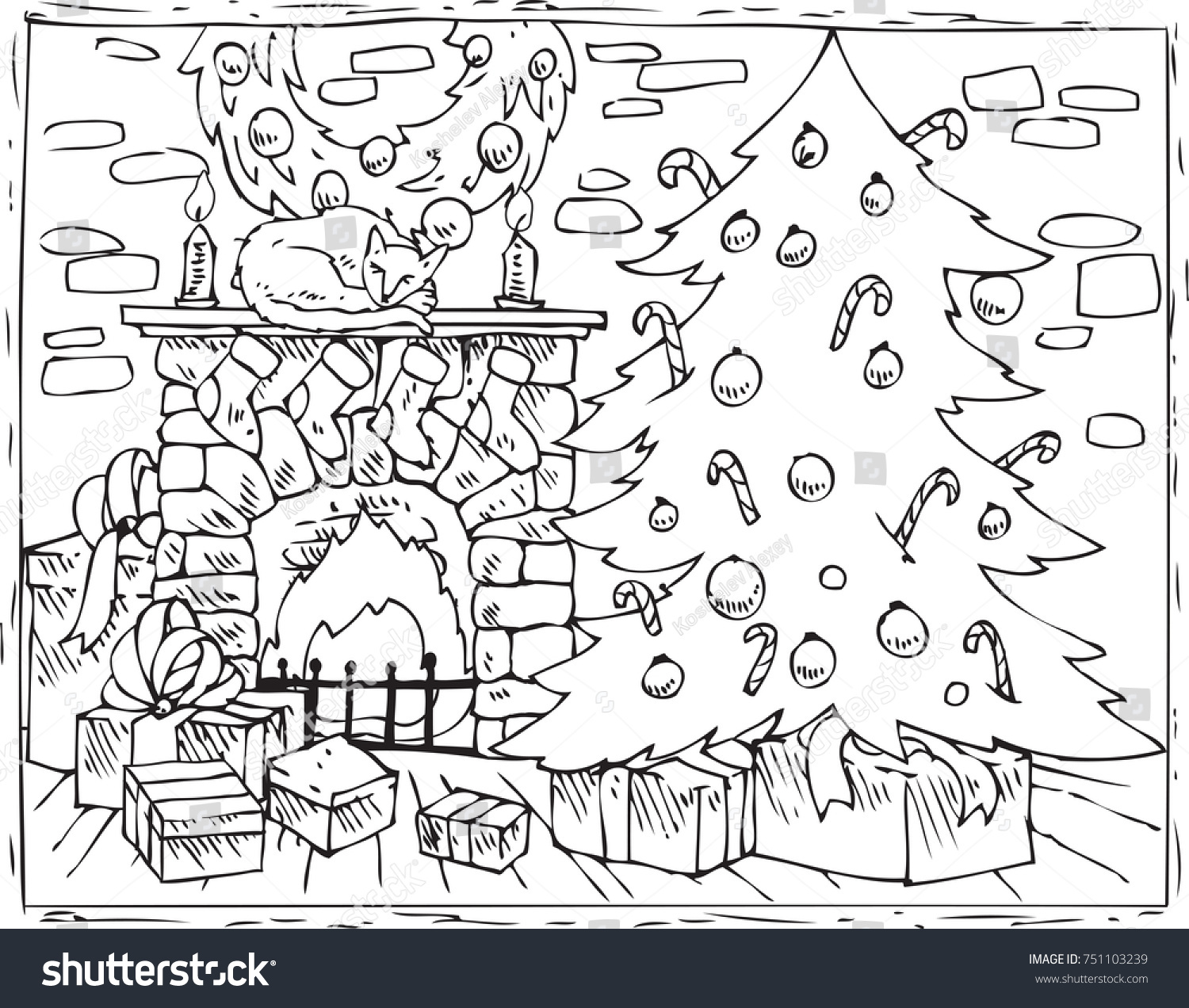 Coloring Book Page Christmas Composition With Tree Fireplace And Gifts In The Room