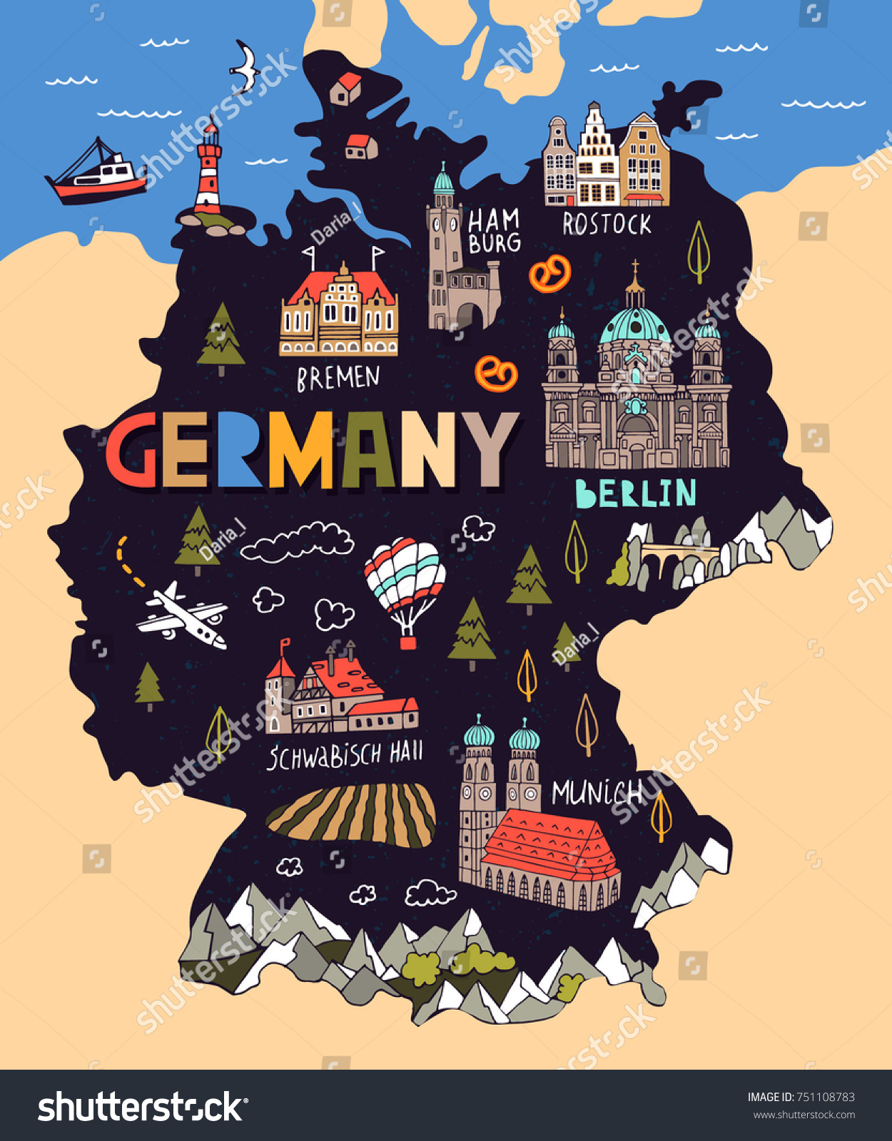 illustrated map of germany travel and attractions
