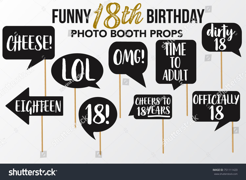 Set Funny Eighteen Birthday Photobooth Vector Stockvector