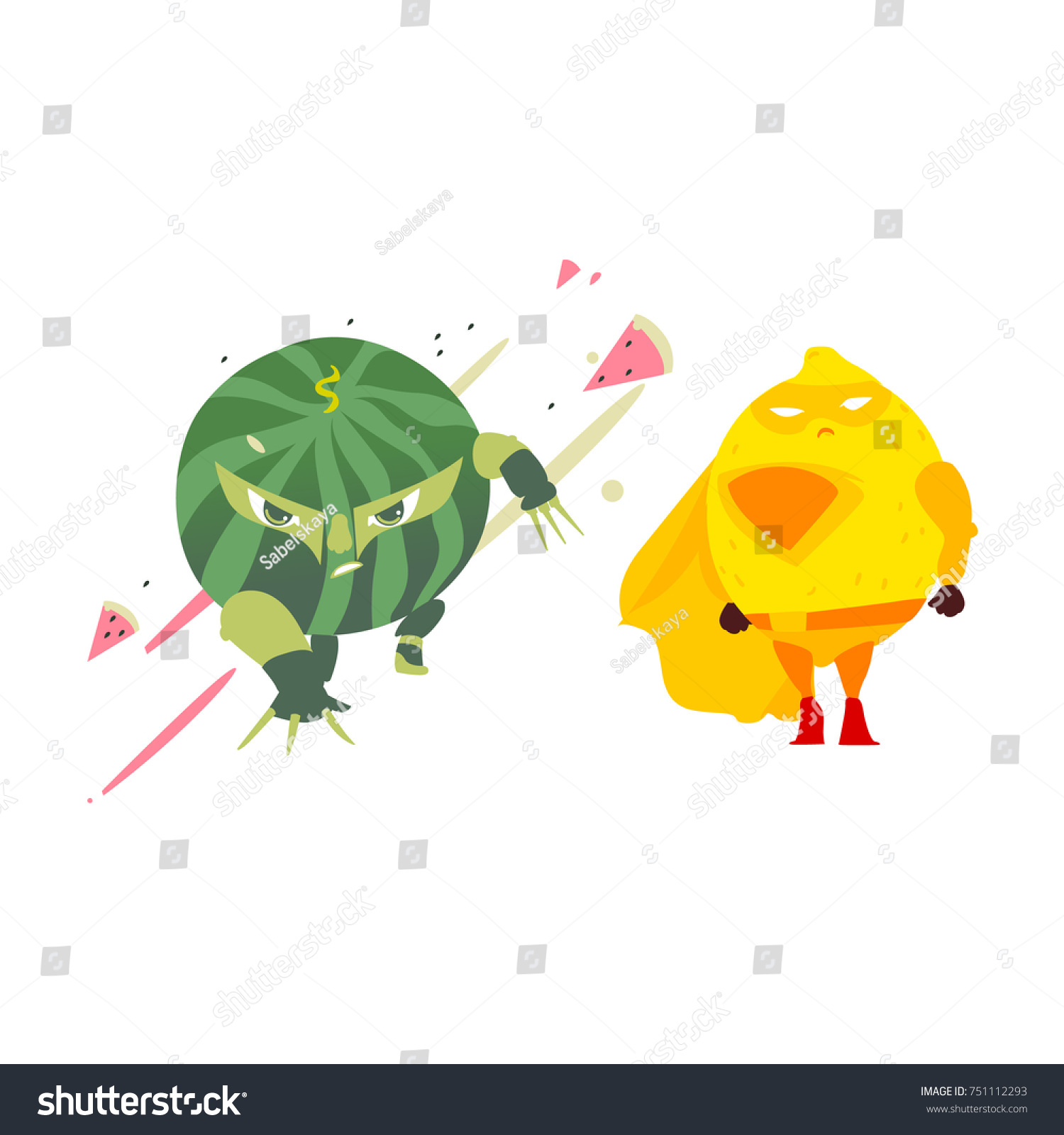 funny watermelon lemon fruit hero superhero stock vector 751112293