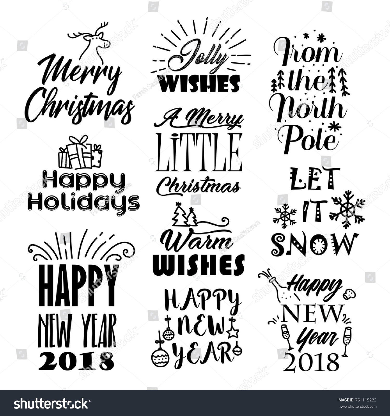 Christmas Happy New Year Wishes Stickers Stock Vector (Royalty Free ...