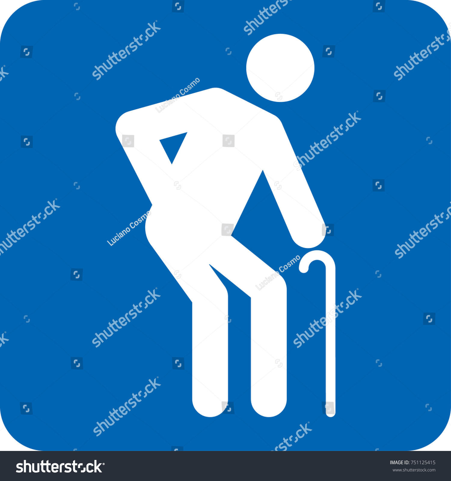Elderly Icon Pictogram Special Needs Blue Stock Vector