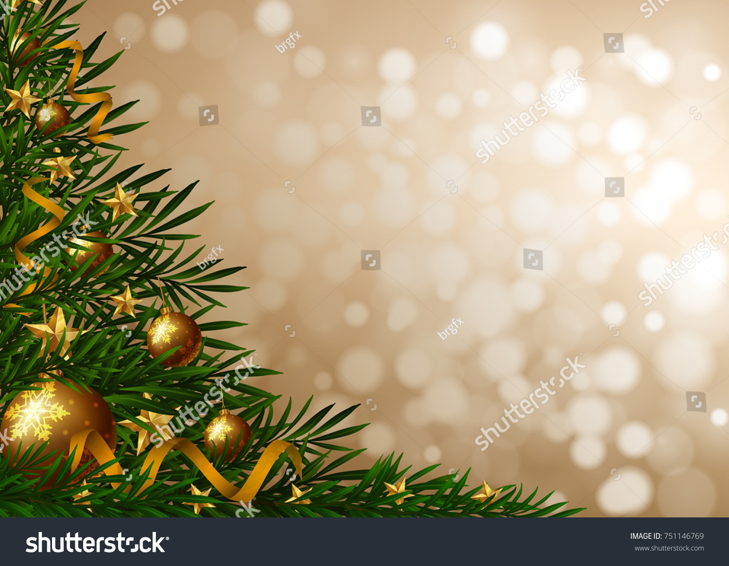 background template christmas tree ornaments illustration stock