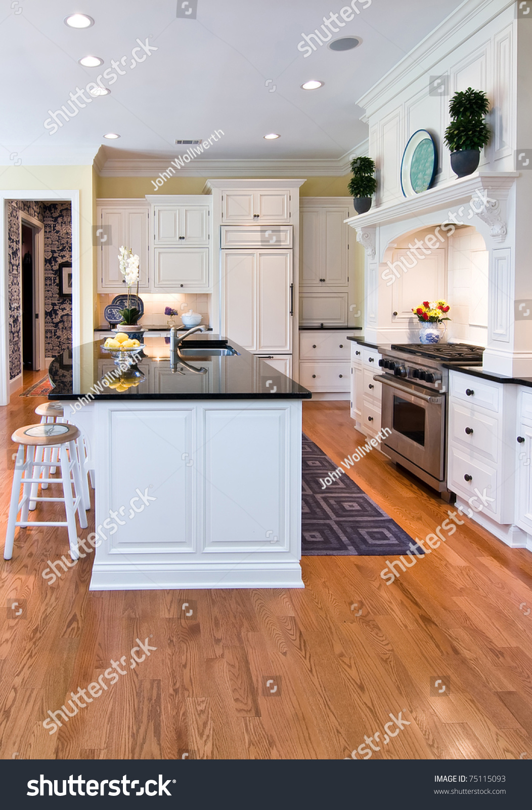 Oak Floor Kitchen Trendy Modern Kitchen White Cabinets Oak Stock Photo 75115093