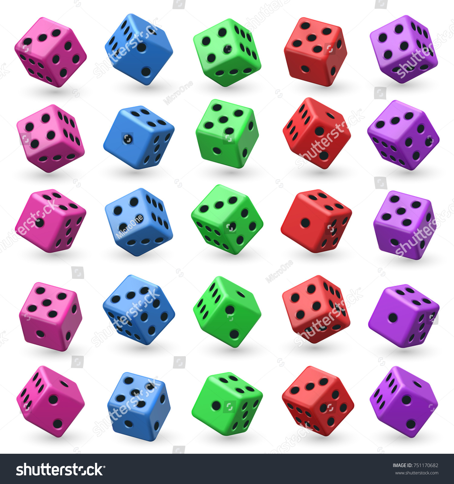 Playing Dice Set 3d Cube Numbers Stock Illustration 751170682 ...