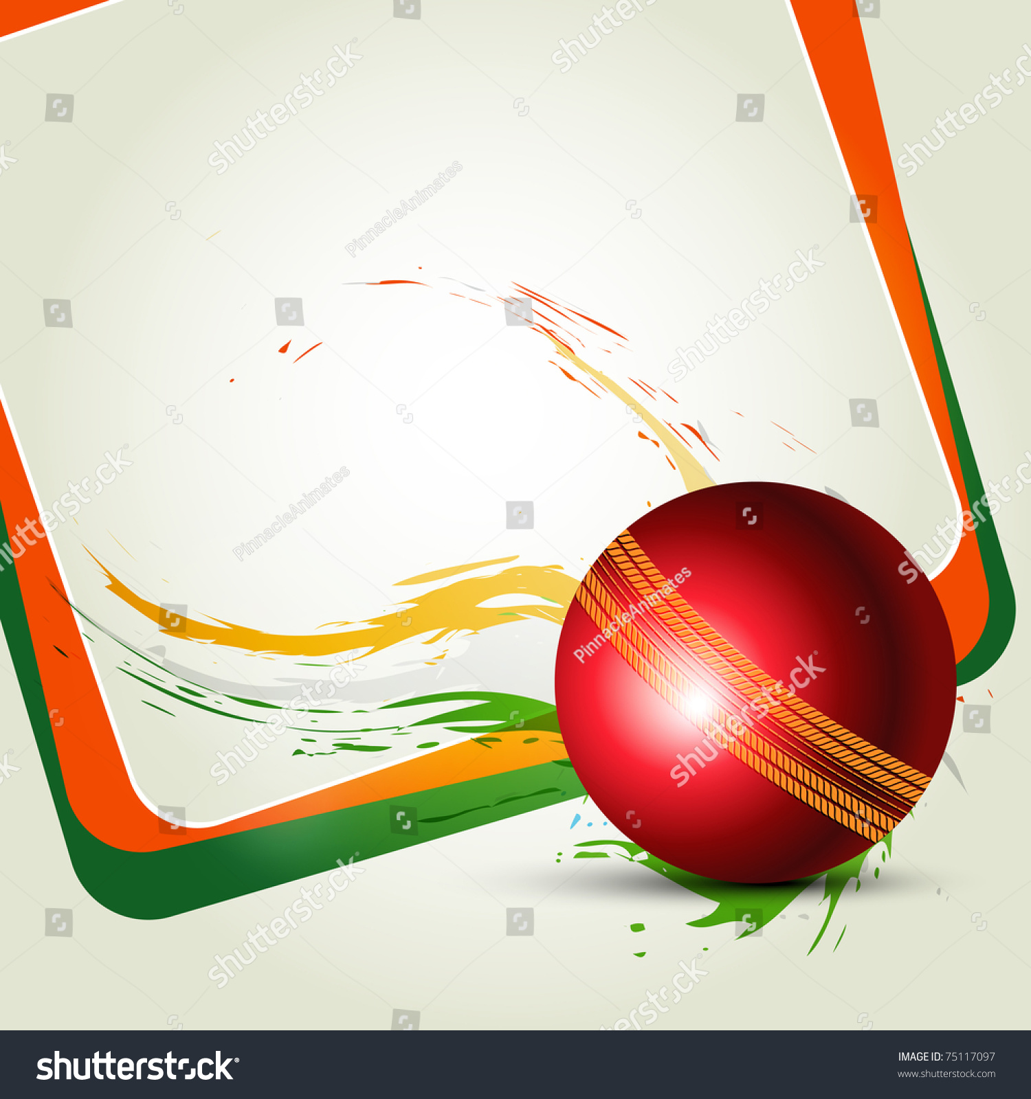 Cricket Ball On Abstract Background Stock Vector 75117097