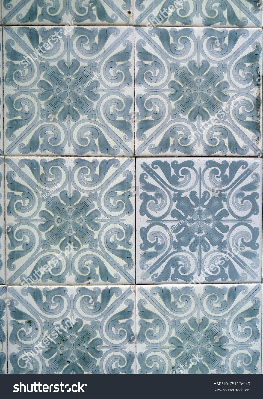 Typical Ornament Portuguese Ceramic Tiles Patterned Stock Photo ...