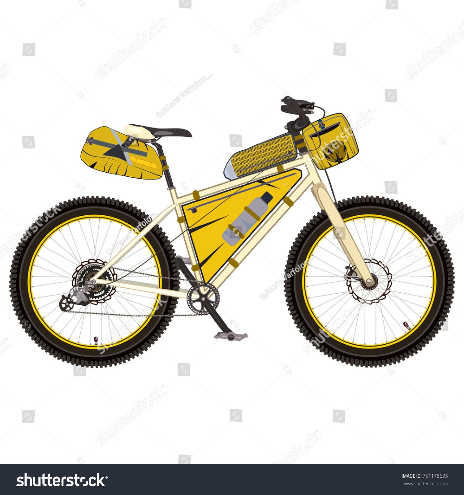 Vector Illustration Touring Bike Saddlebag Frame Stock Vector