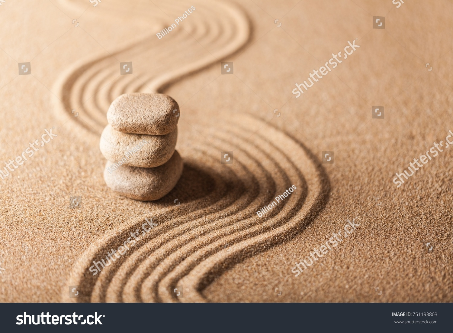 Zen Garden Raked Sand Balancing Pebbles Stock Photo (Royalty Free ...