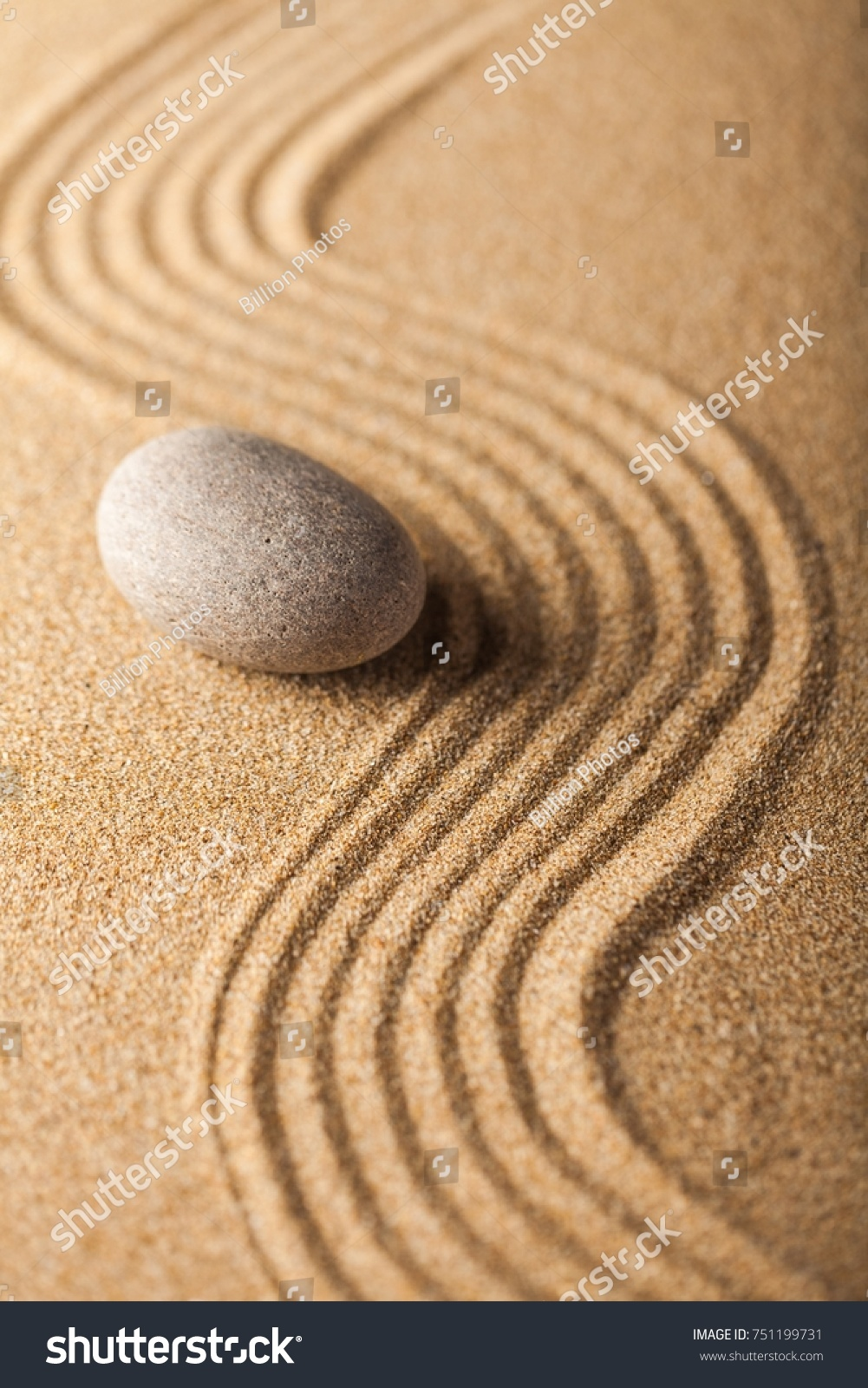 Zen Garden Raked Sand Smooth Stone Stock Photo (Download Now ...