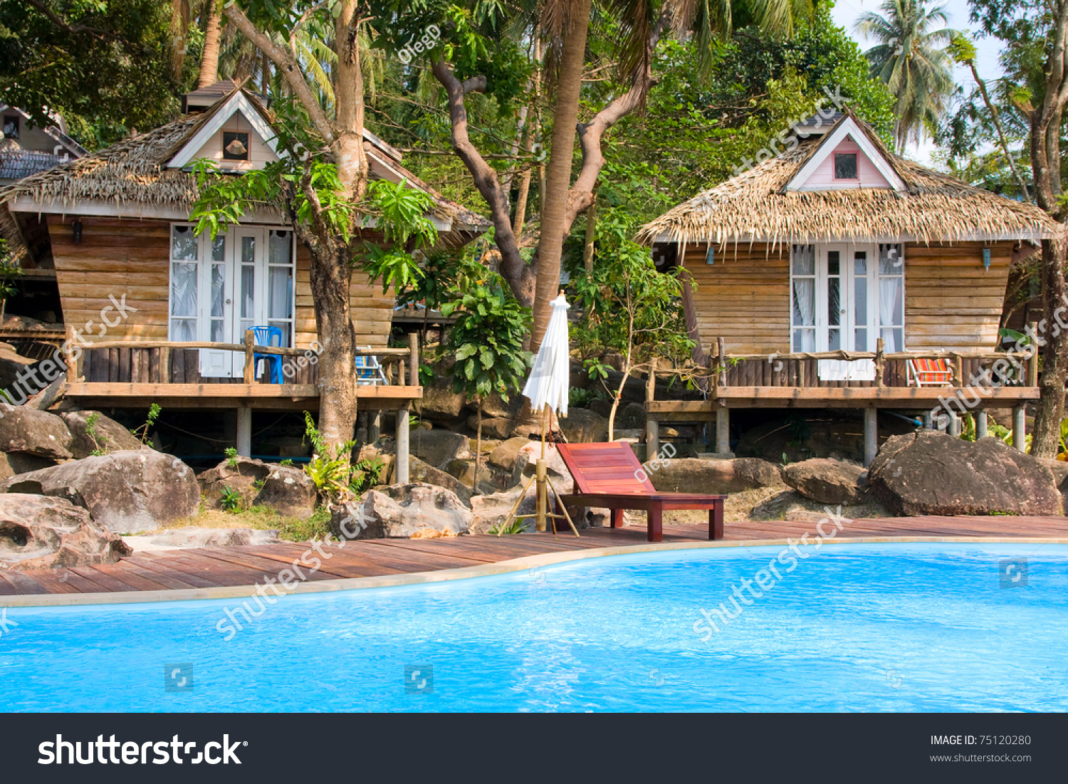 Beautiful tropical beach house in thailand stock photo for Beach house description