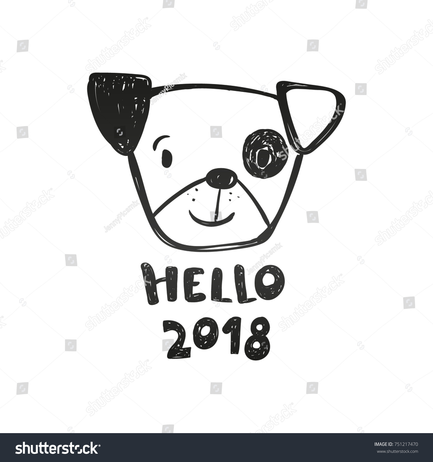 Superieur Cute Dog And Inscription Hello 2018, New Year Card, Black And White