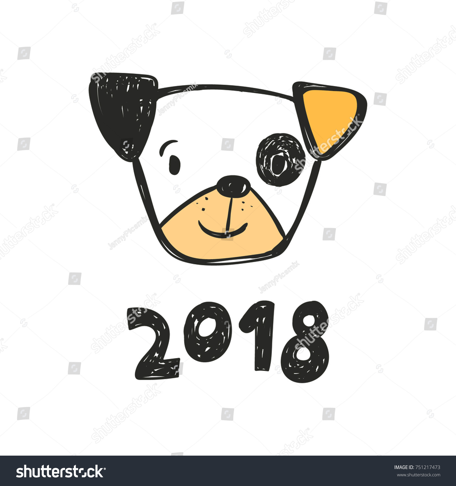 cute dog and inscription 2018 new year card