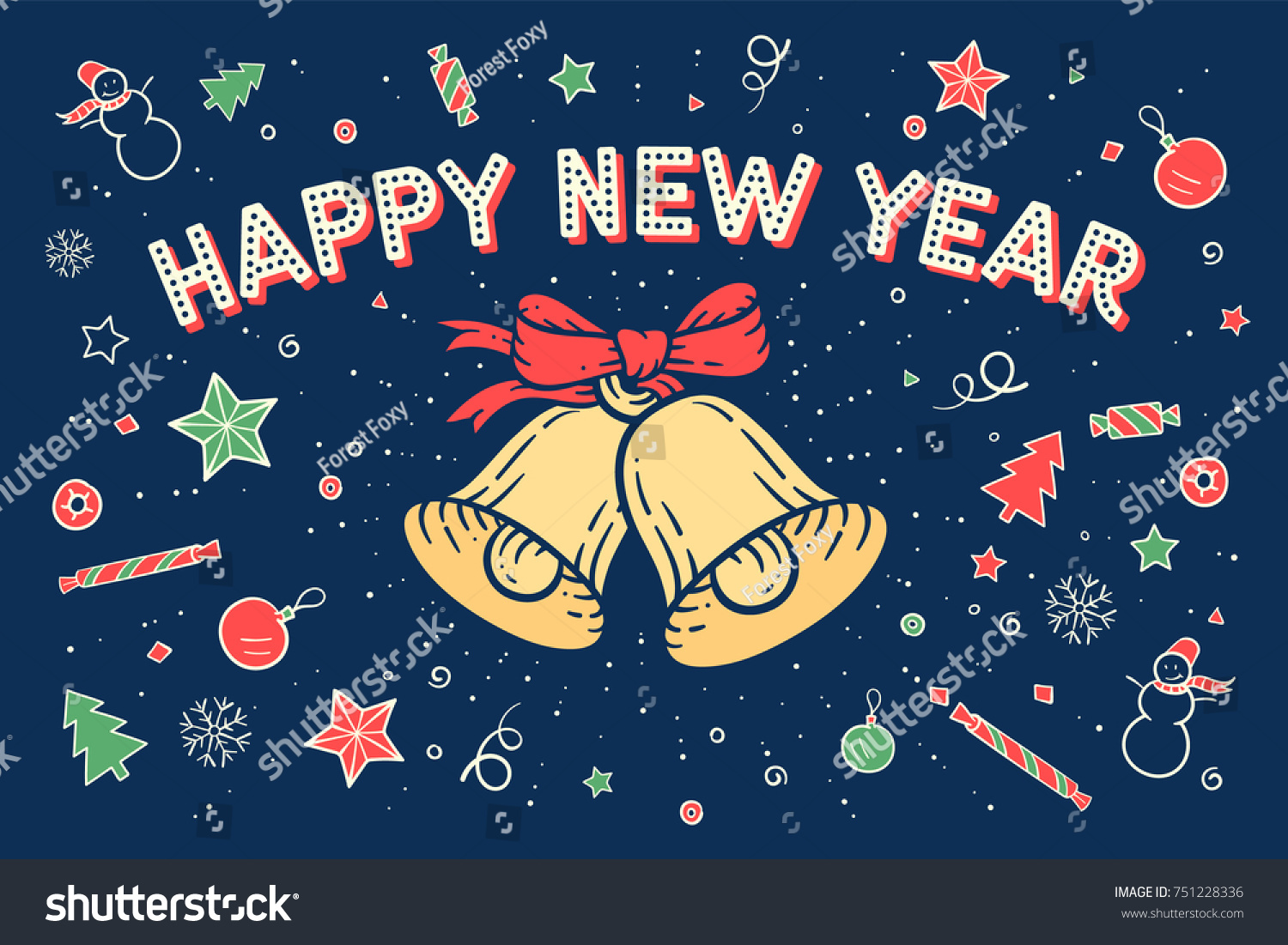 Happy new year greeting card bell stock vector 751228336 shutterstock happy new year greeting card with bell and text happy new year with starburst on kristyandbryce Images